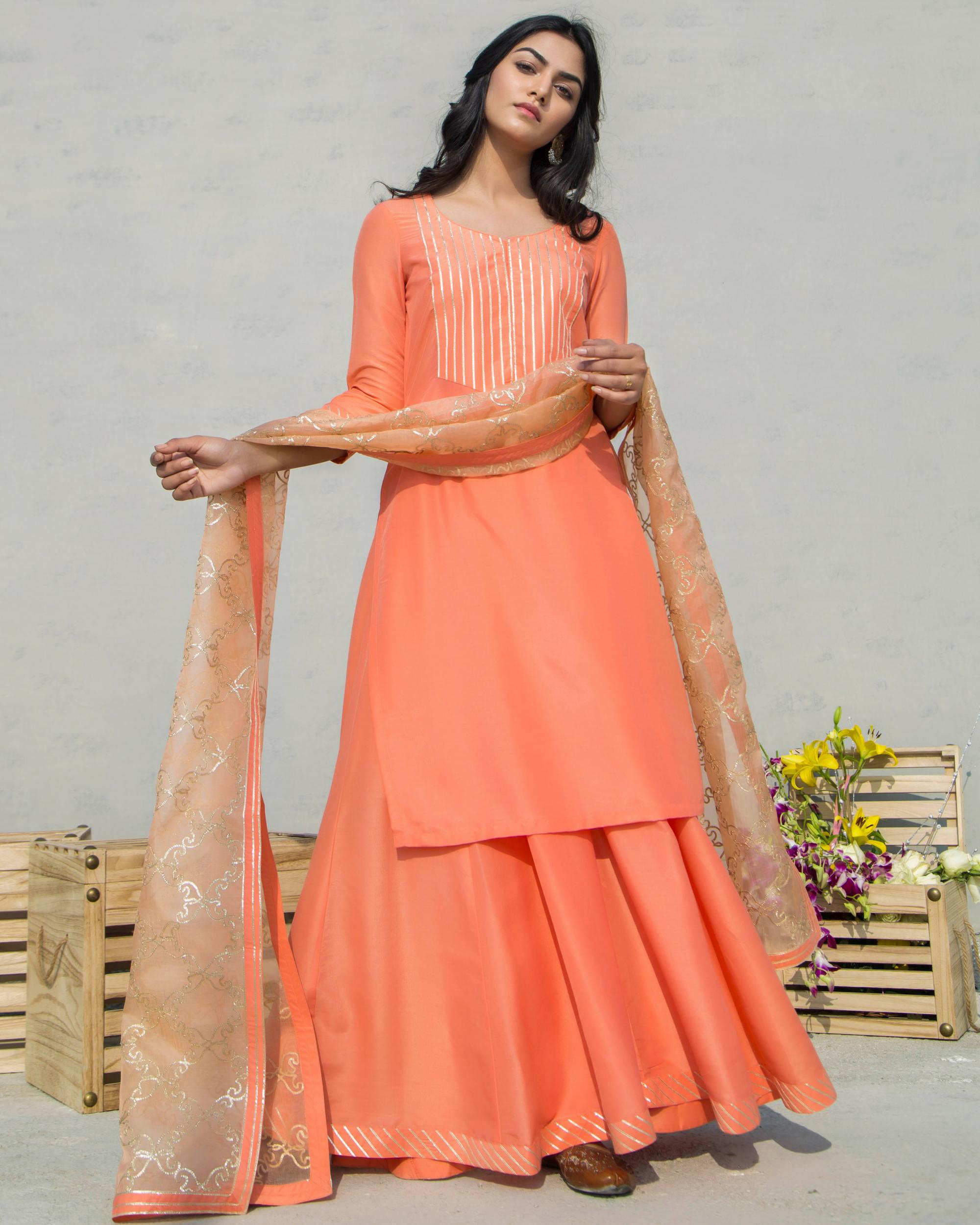 Orange charkhi set with dupatta