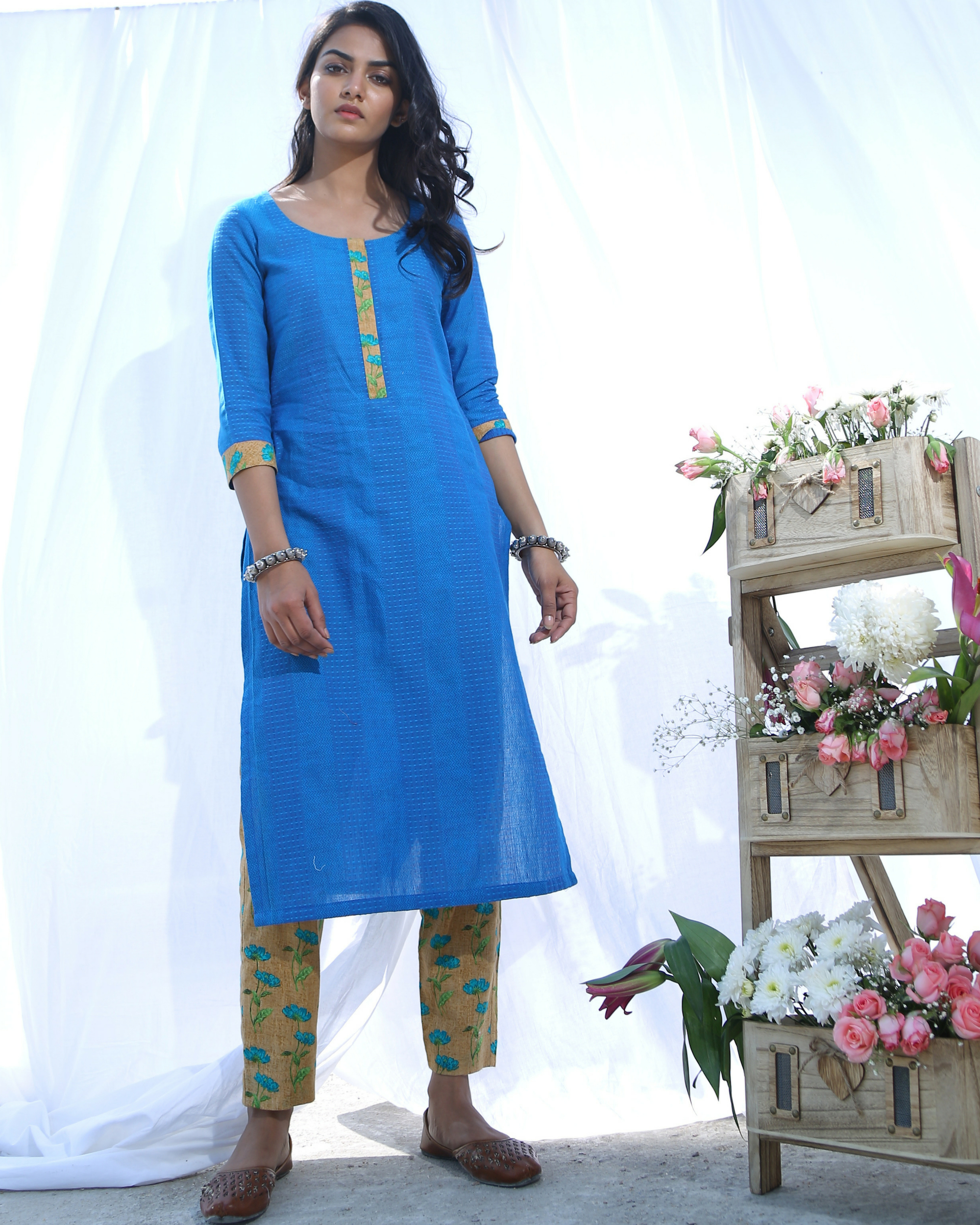 Blue cotton kurta with pants