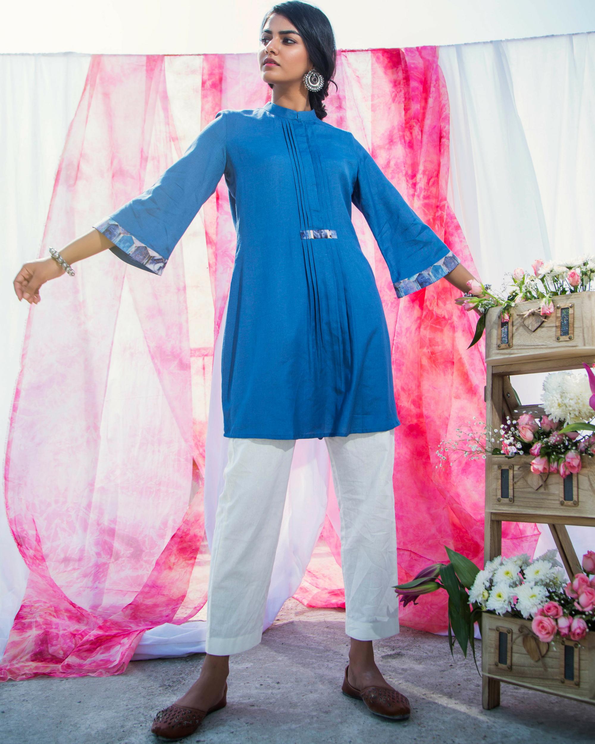 Indigo cotton tunic