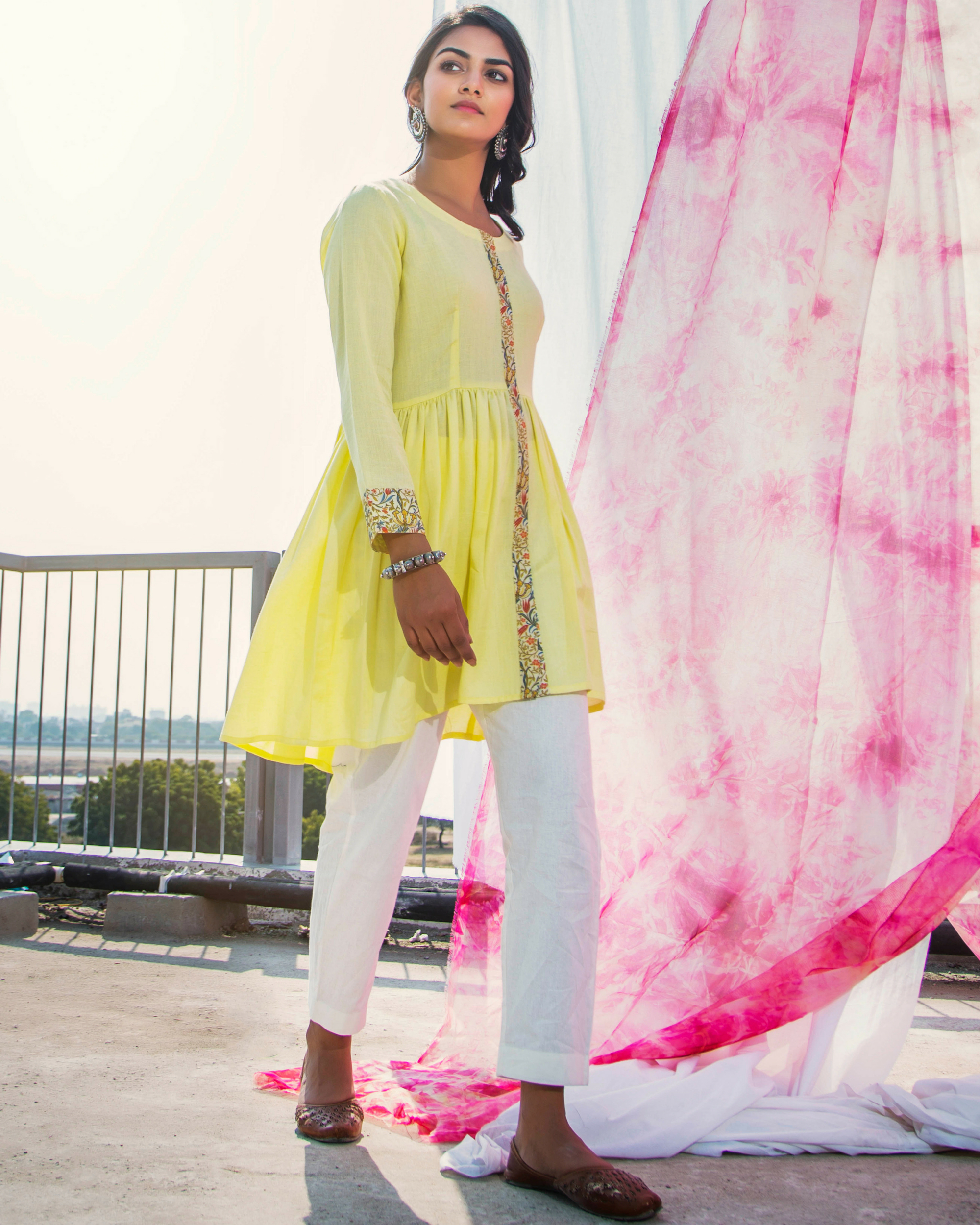 Lime cotton tunic