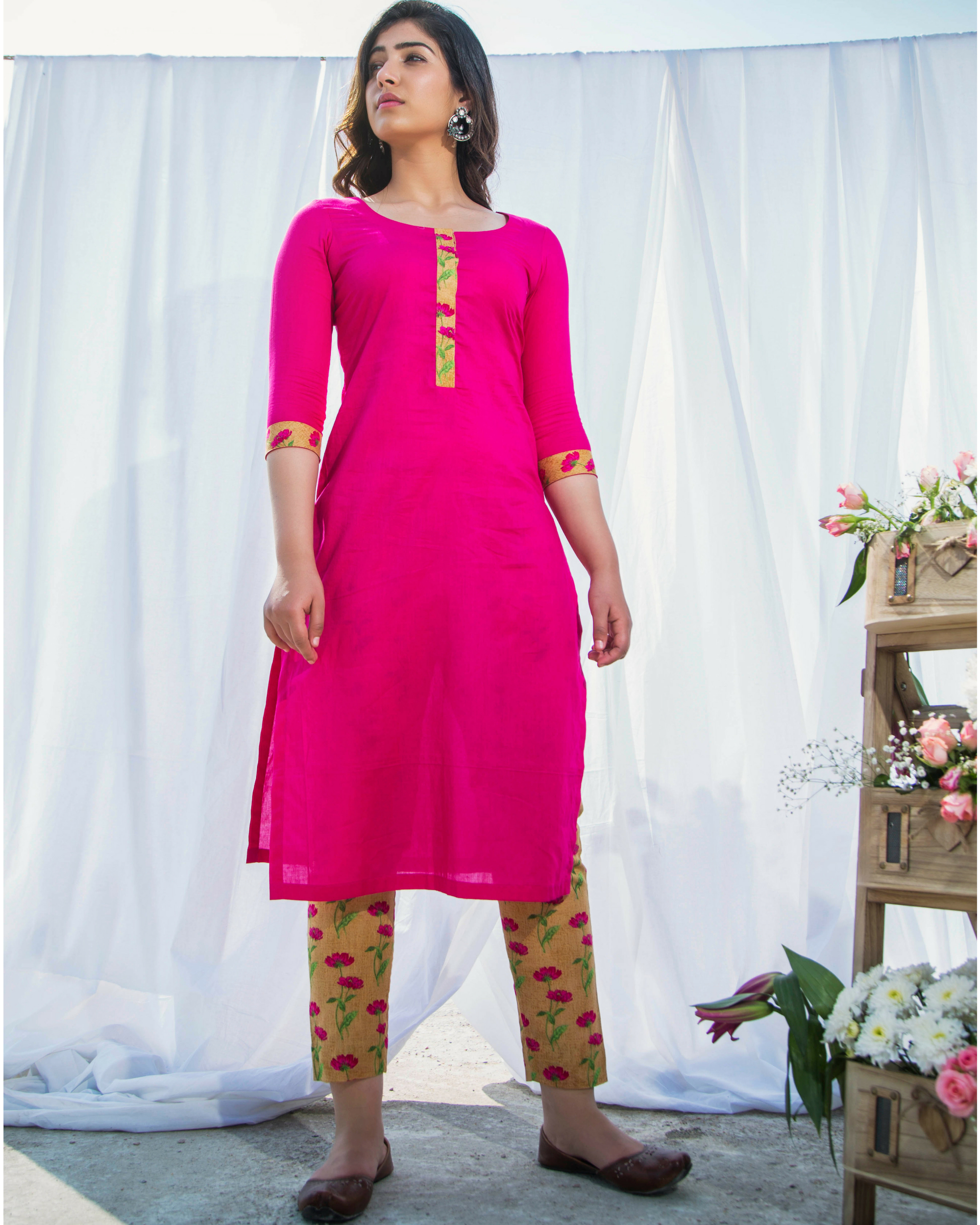 Pink cotton kurta with printed pants