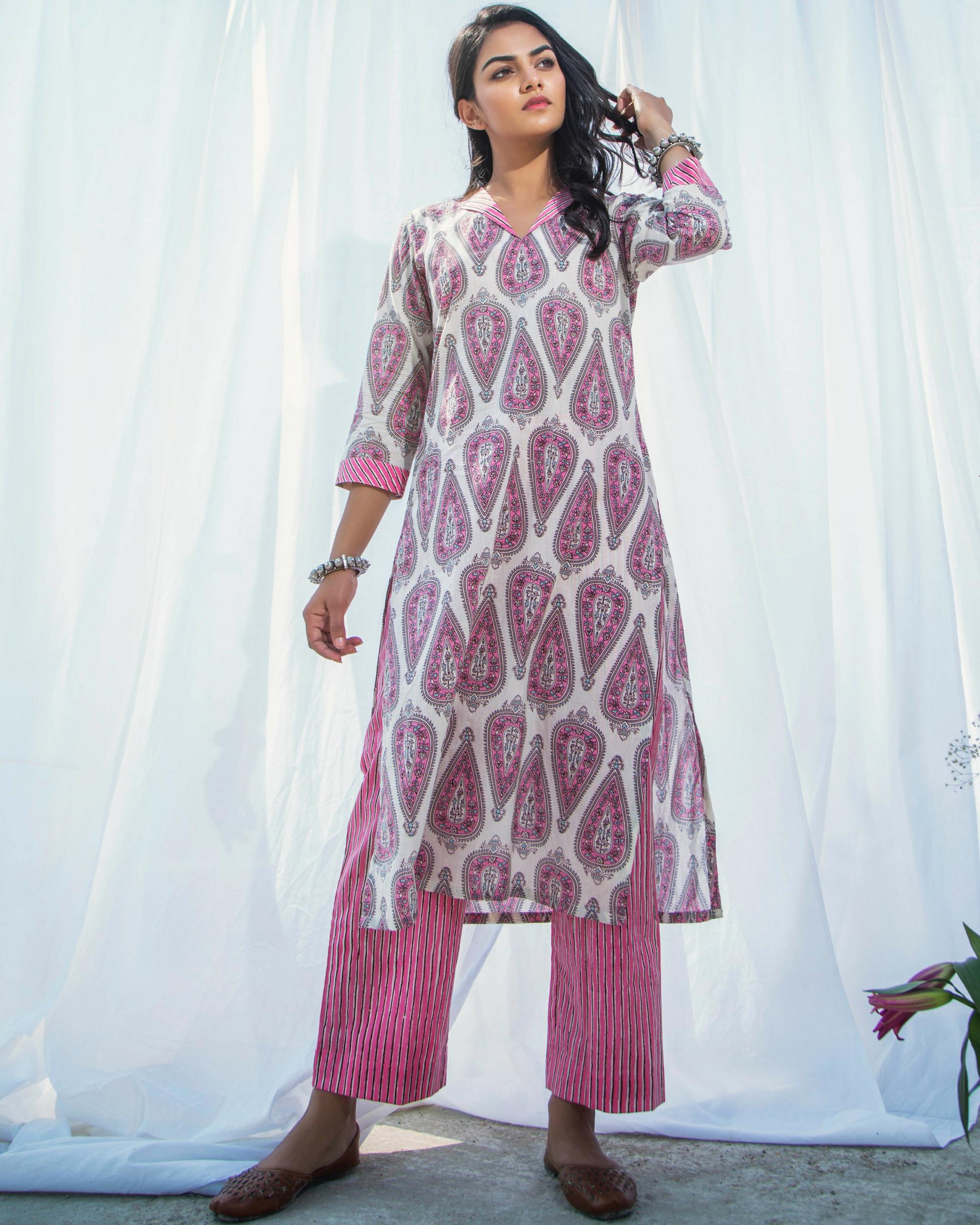 Pink printed cotton kurta with pants