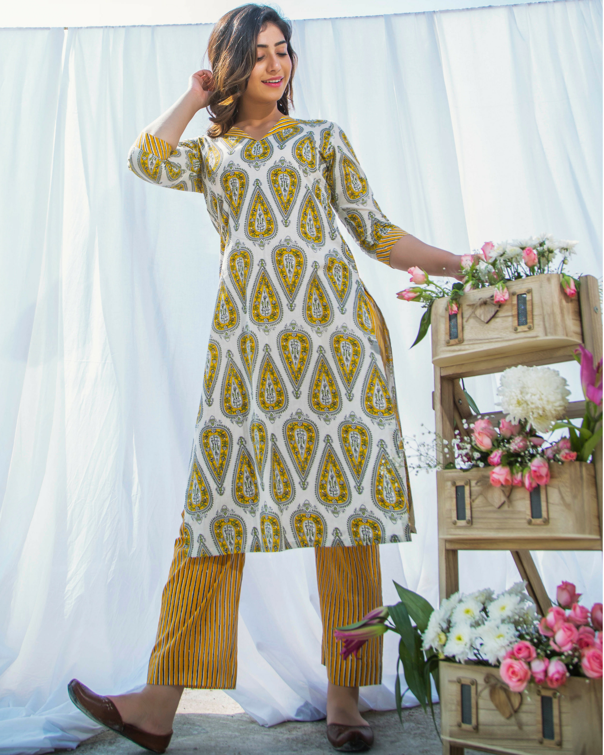 Yellow printed cotton kurta with pants