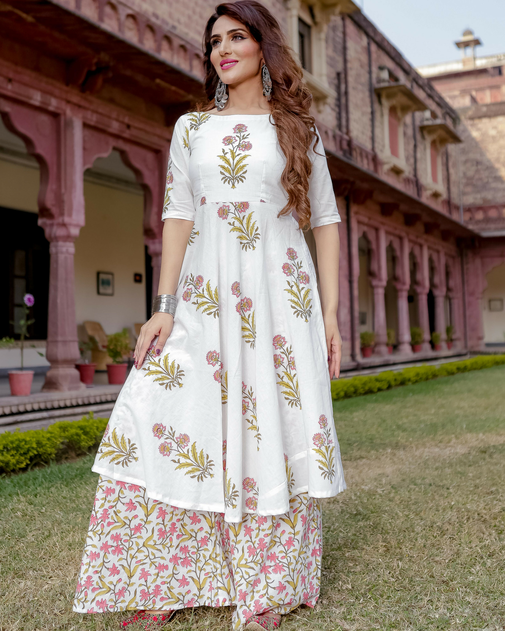 White handblock printed kurta with palazzos