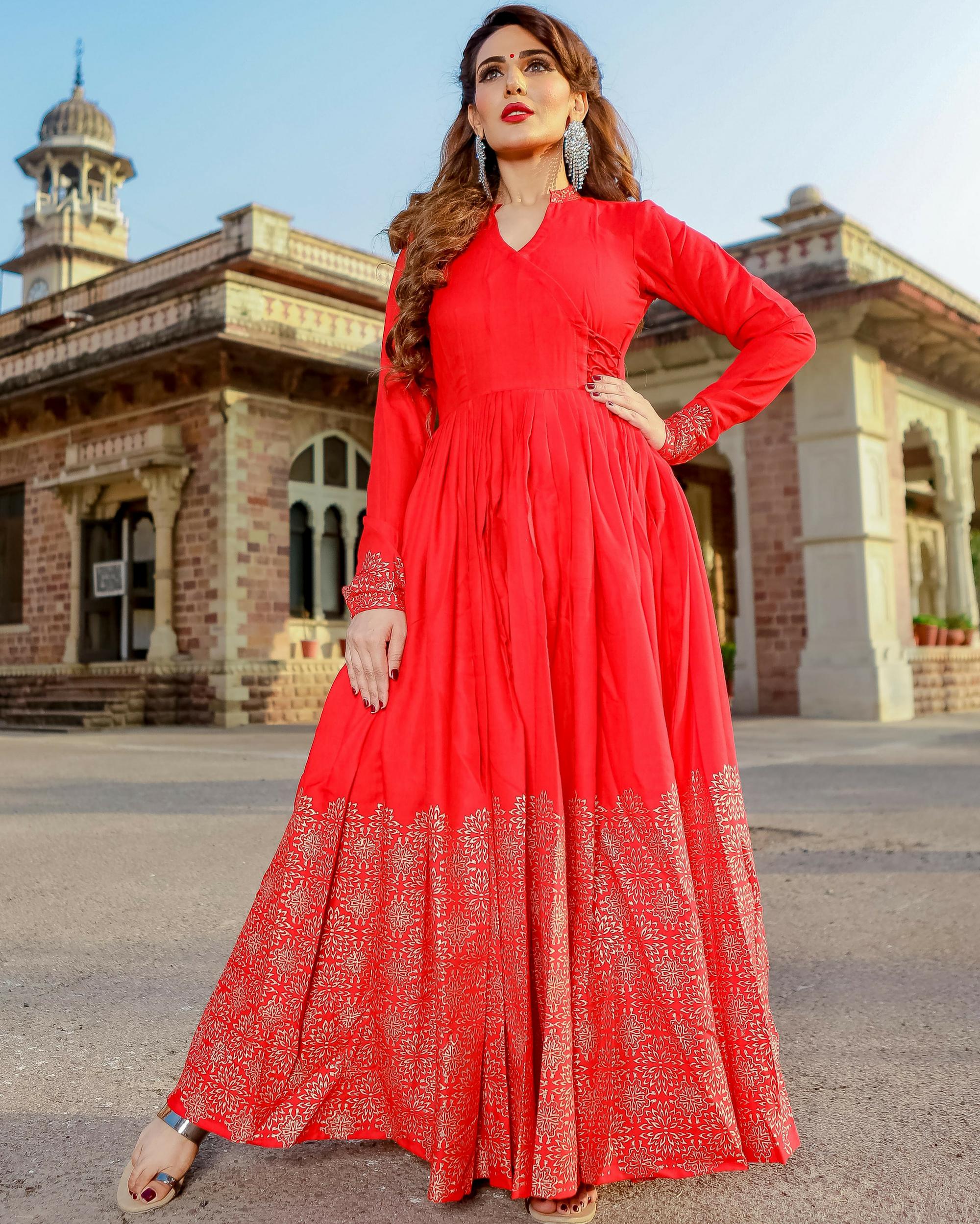 Red printed angrakha dress