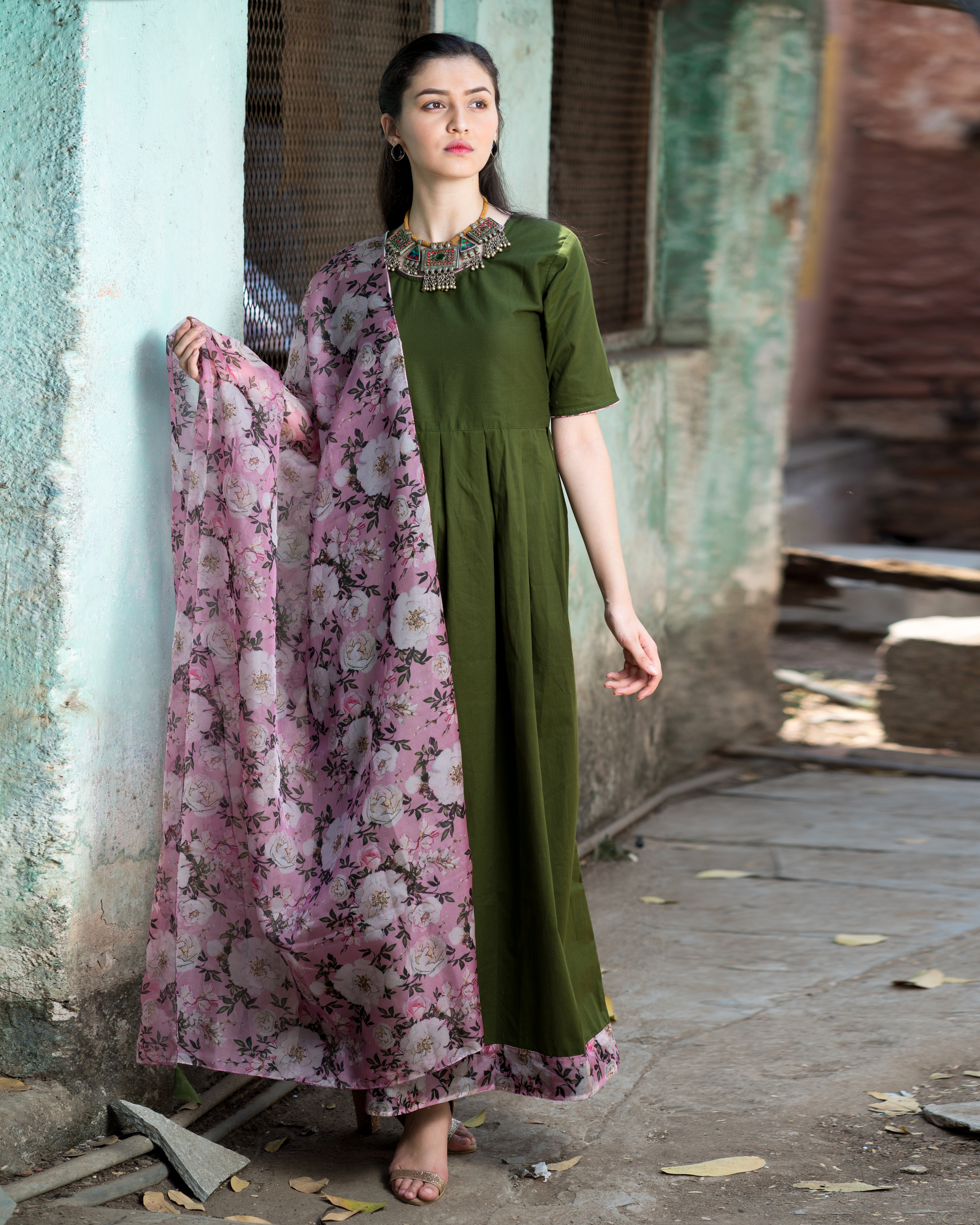 Olive green dress with floral organza dupatta