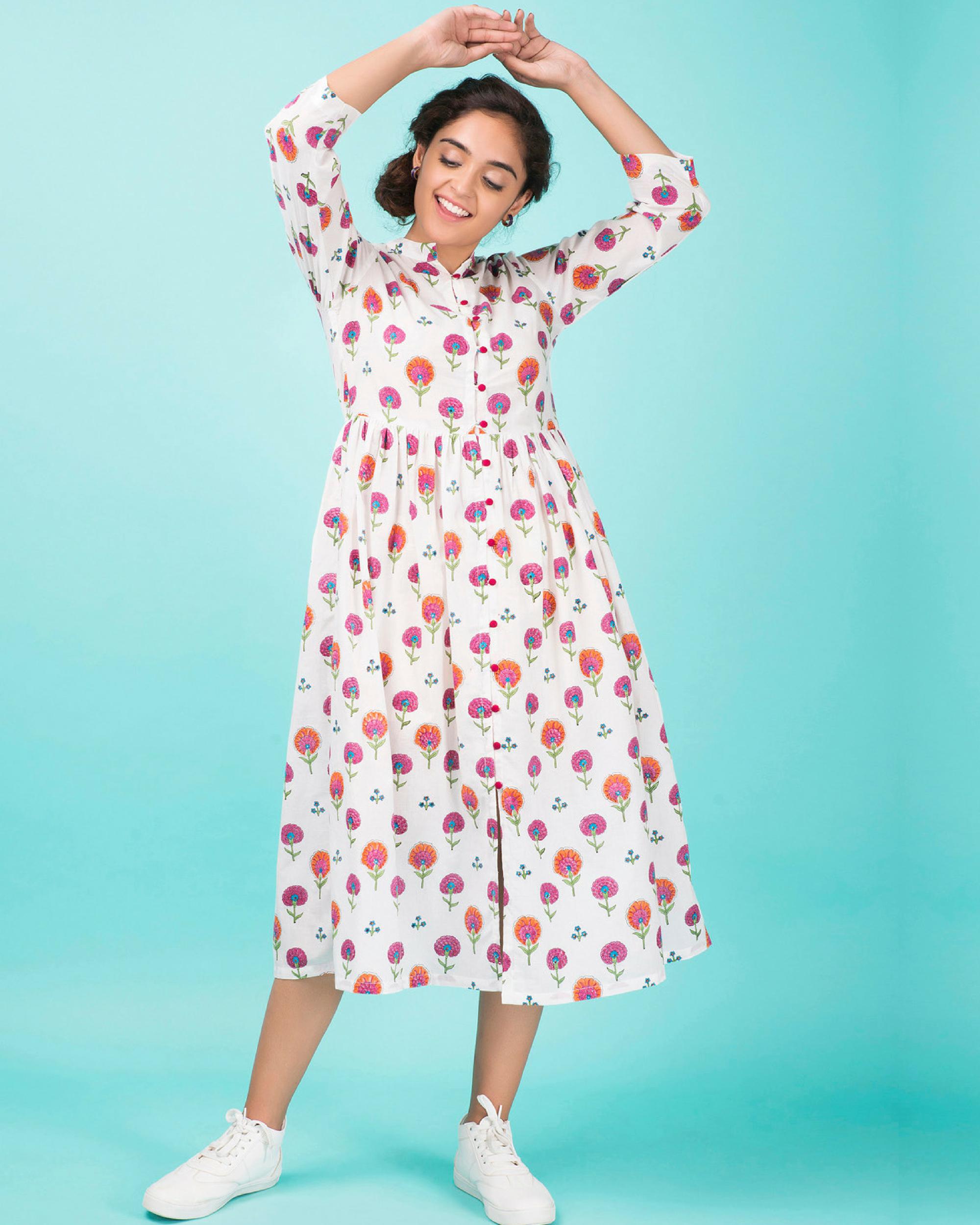 Cotton bloom midi dress