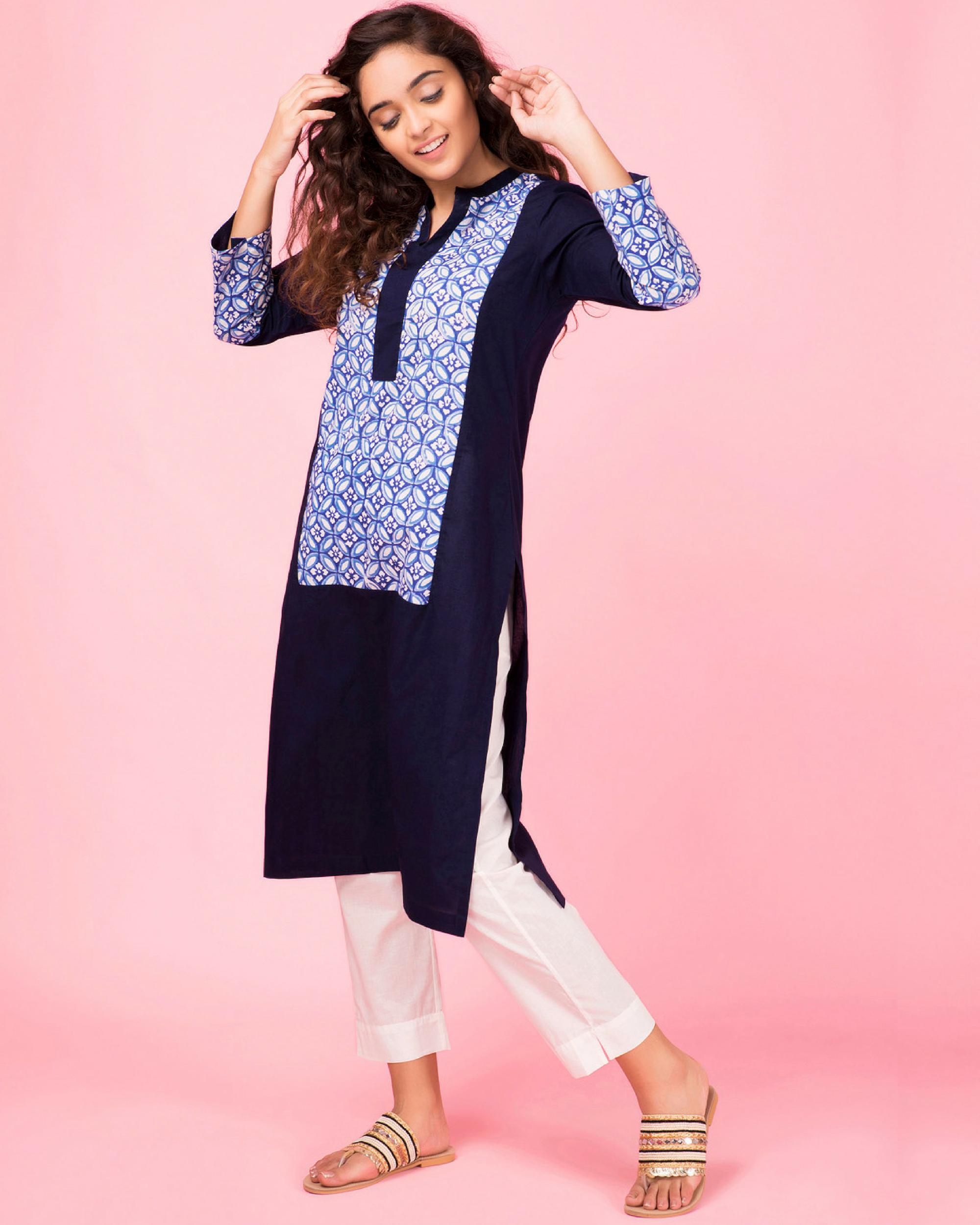 Royal blue colorblock kurta