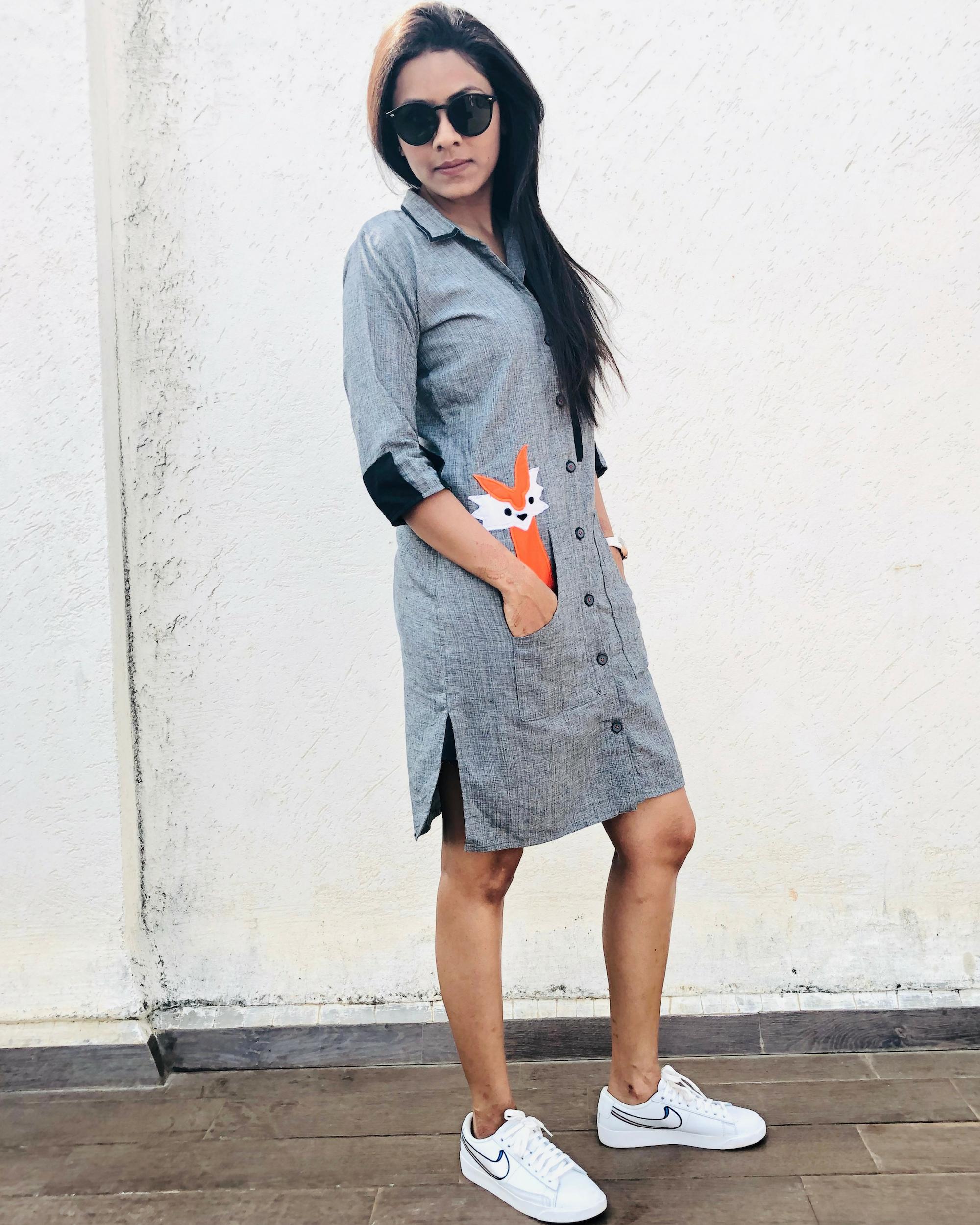 Fox grey shirt dress