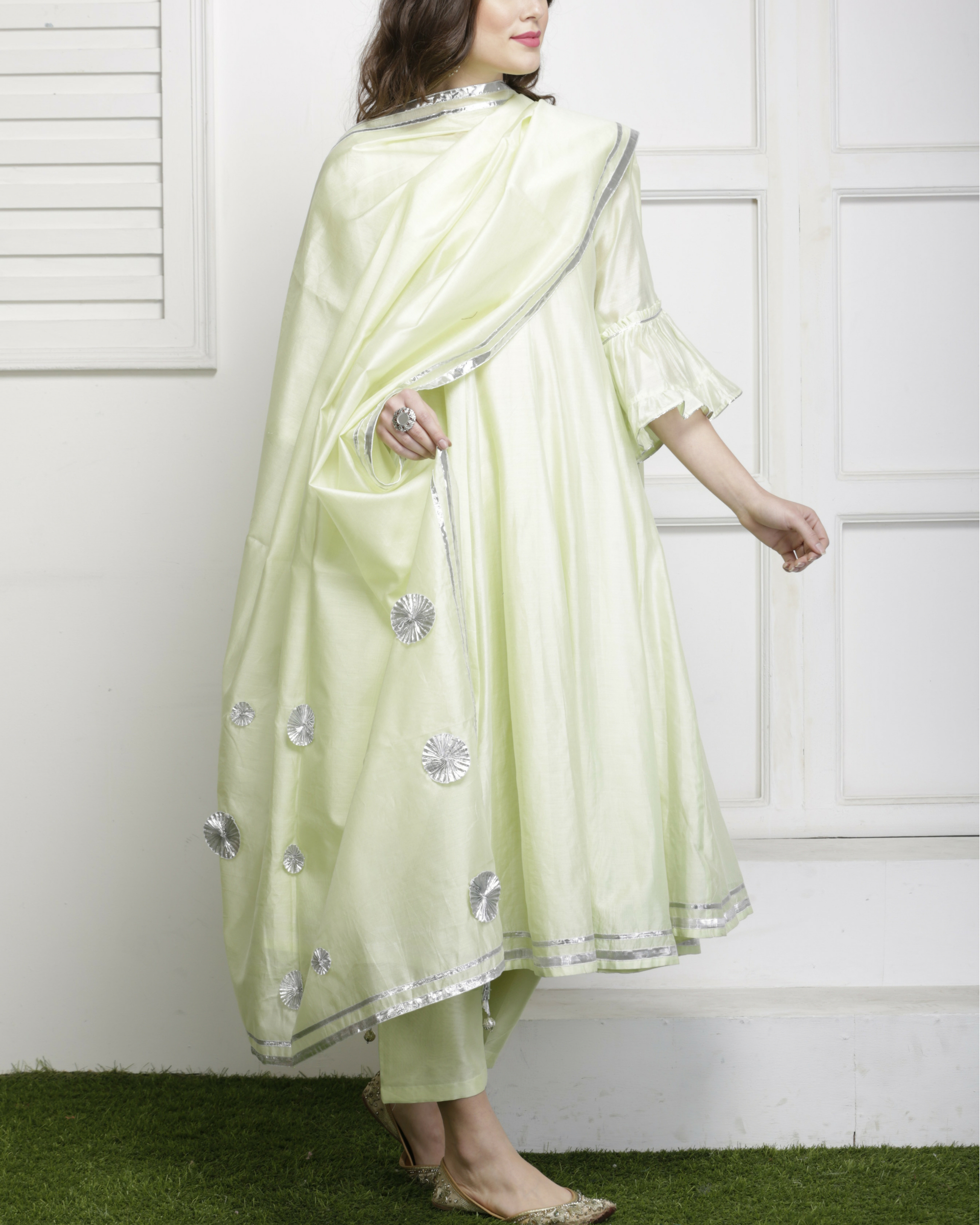 Mint green gota detailed salwar set