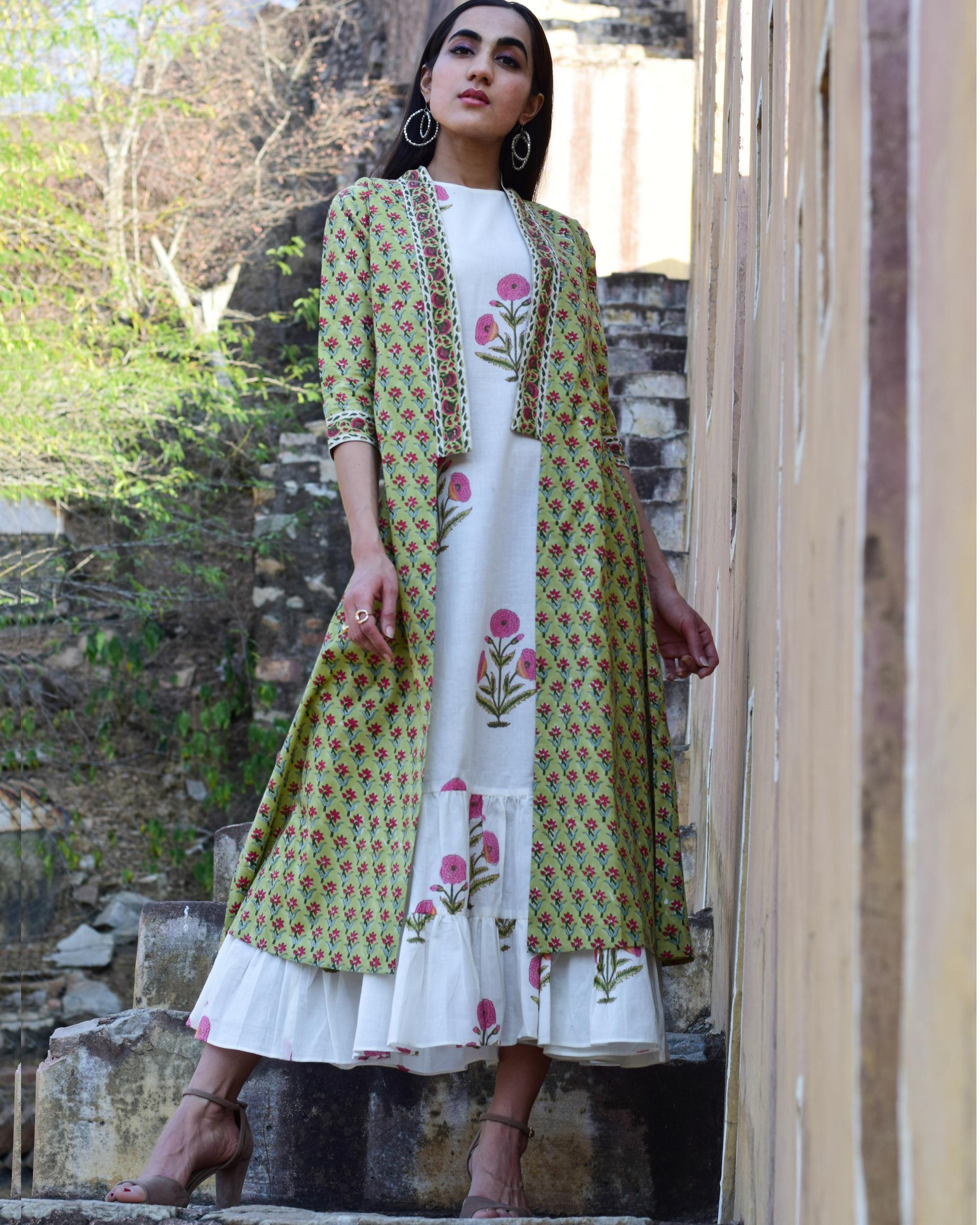 Floral blocked printed jacket dress