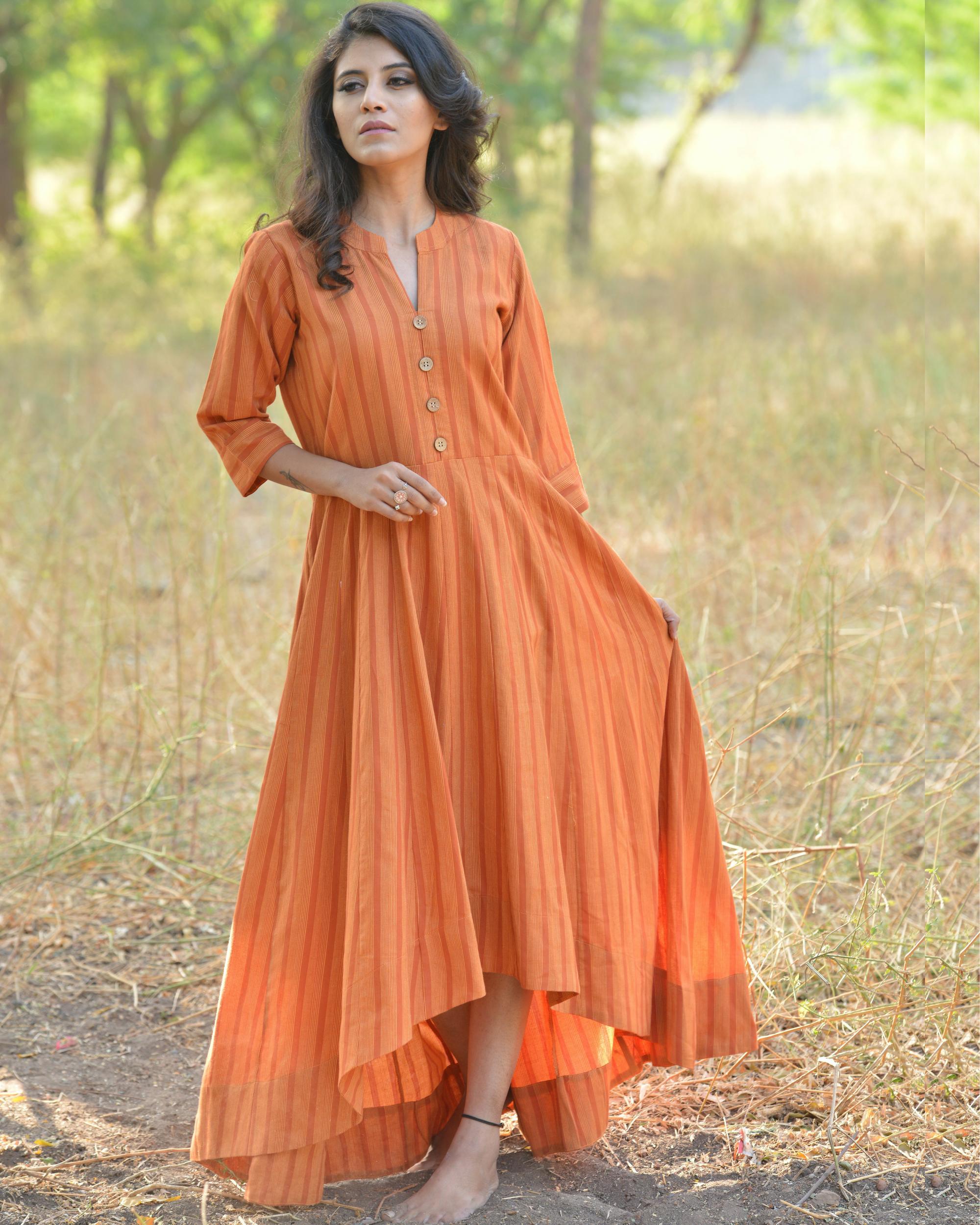 Orange buttoned high low maxi dress