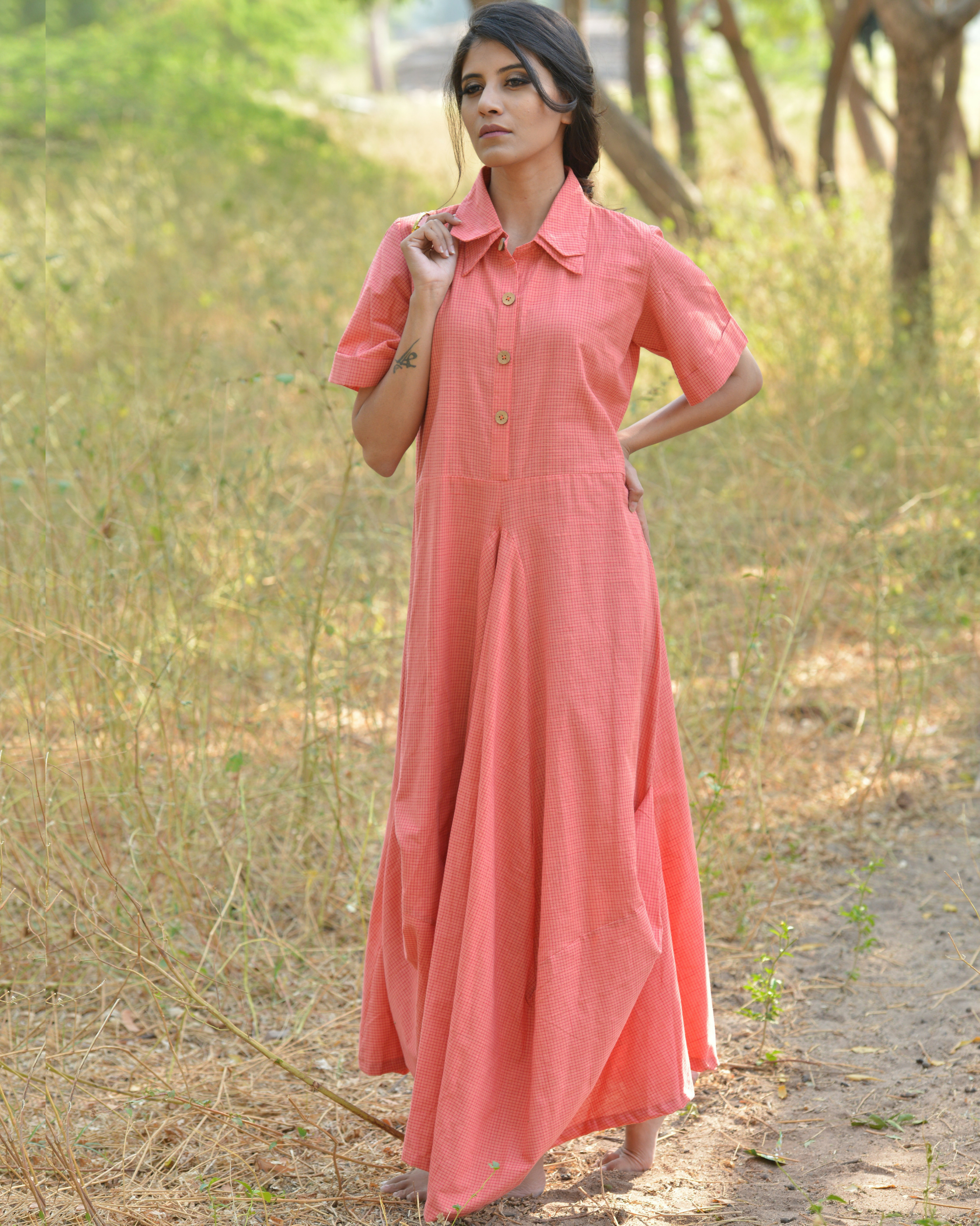 Blush peach khadi maxi dress