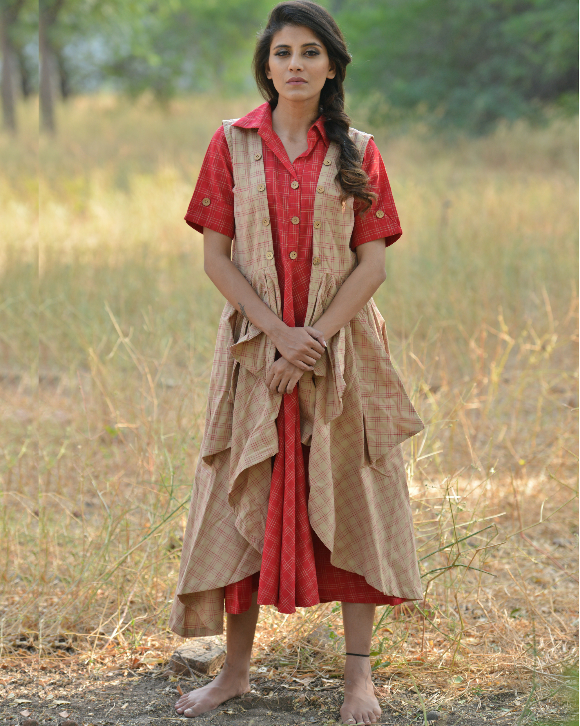 Red and brown khadi dress