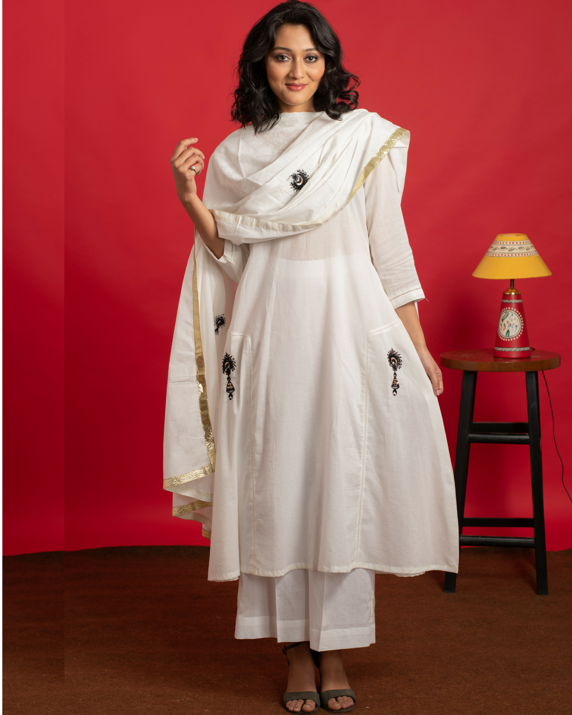Ivory Umbrella kurta set with printed dupatta