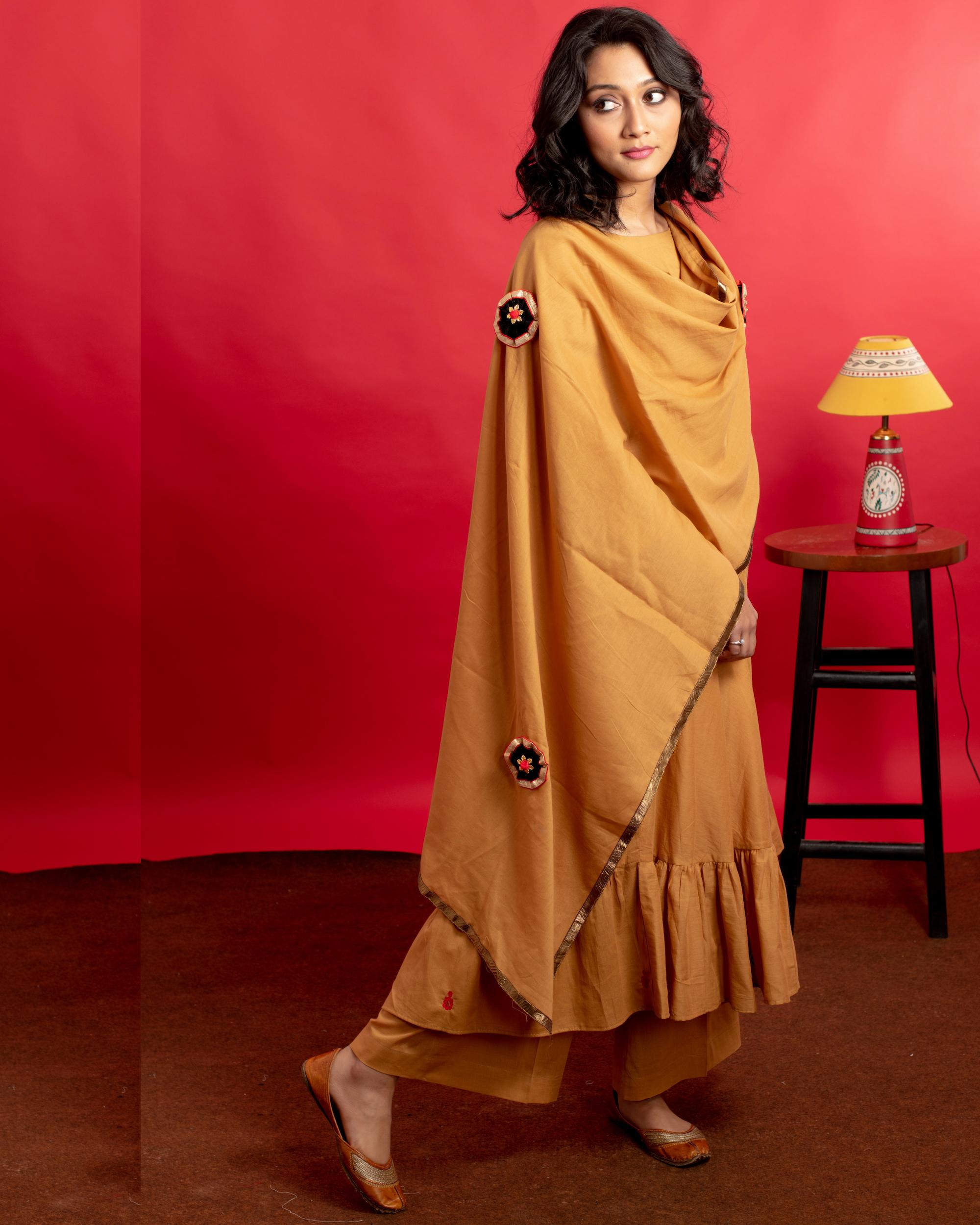 Mustard gathered hand embroidered kurta set with dupatta