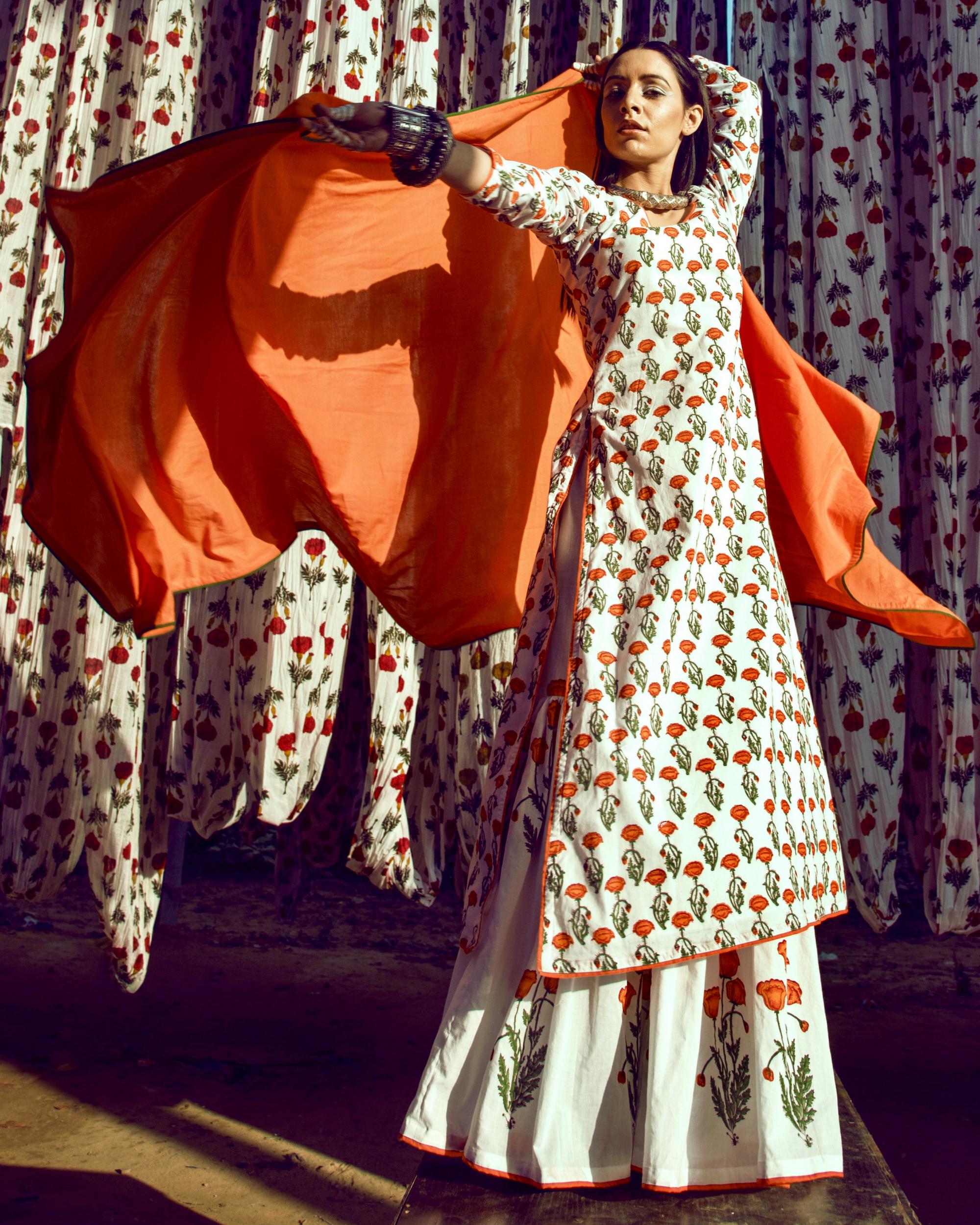 Orange tulip print kurta garara set with dupatta