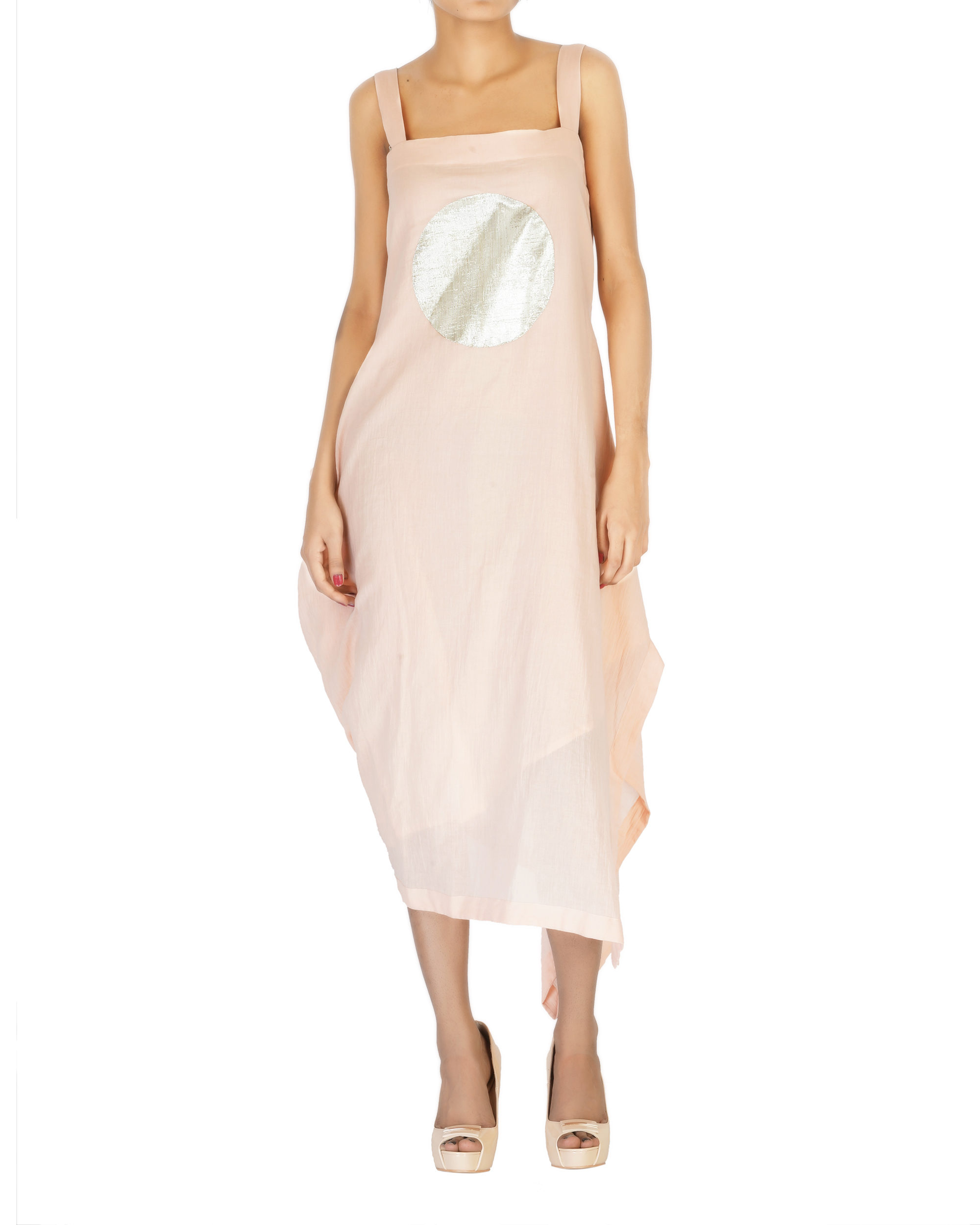 Asymmetrical side cowl dress with straps