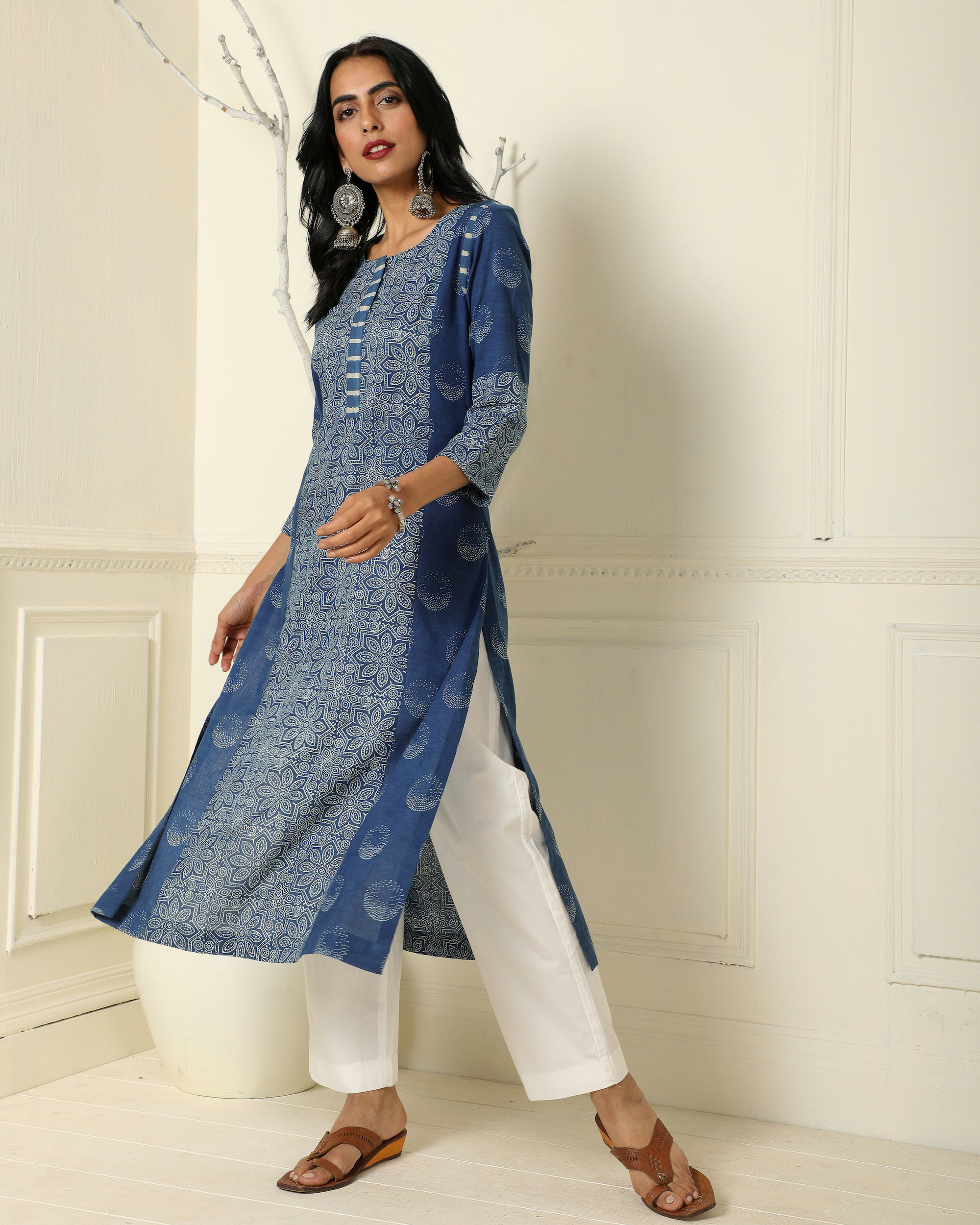 Indigo patchwork kurta