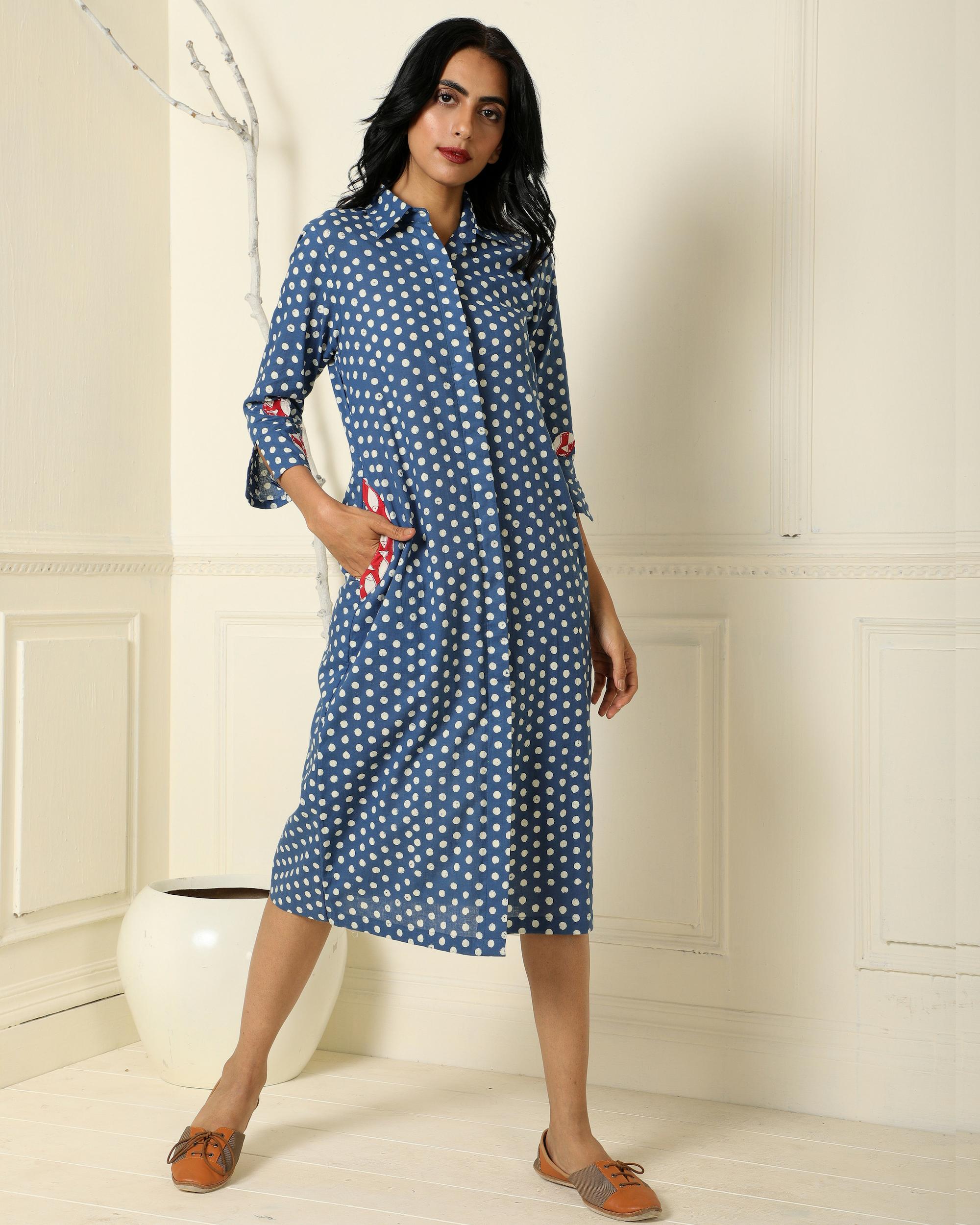 Indigo polka dot dress