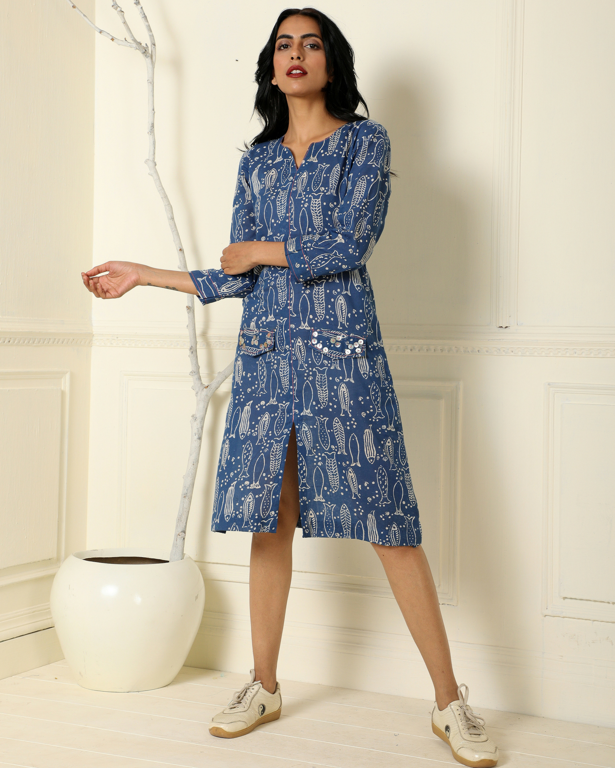 Indigo fish line dress