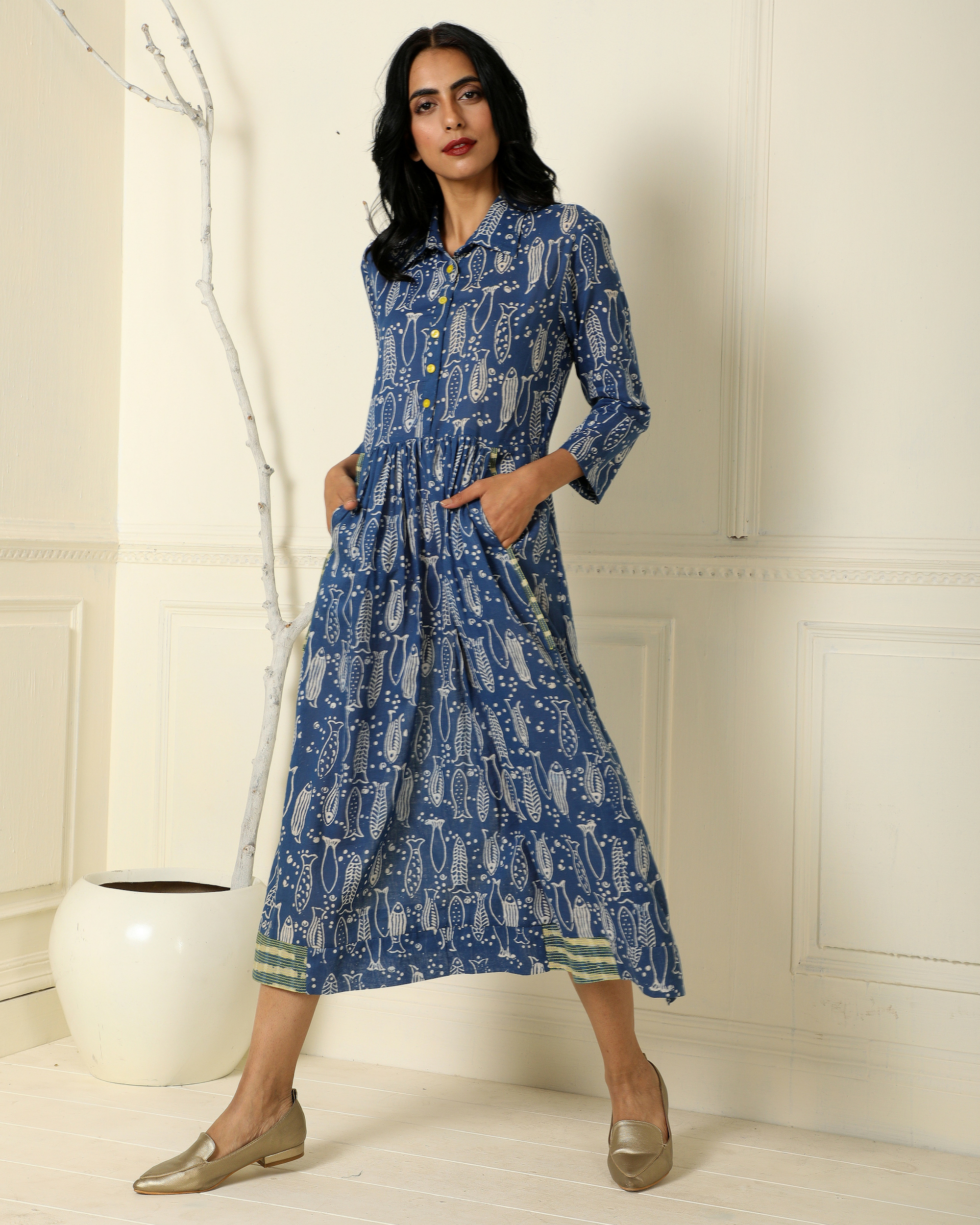 Indigo gathered fish line dress