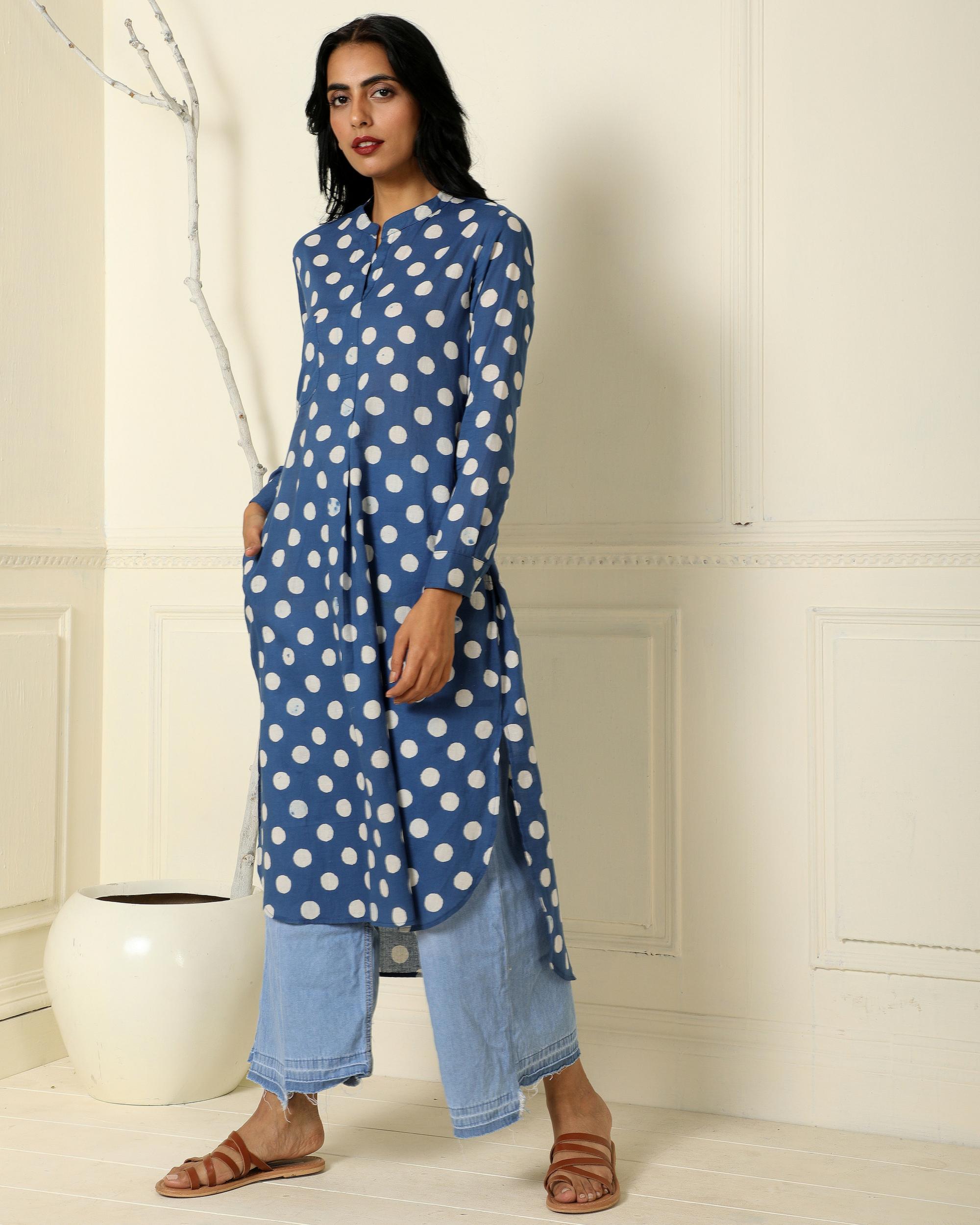 Indigo classic polka dot print  tunic