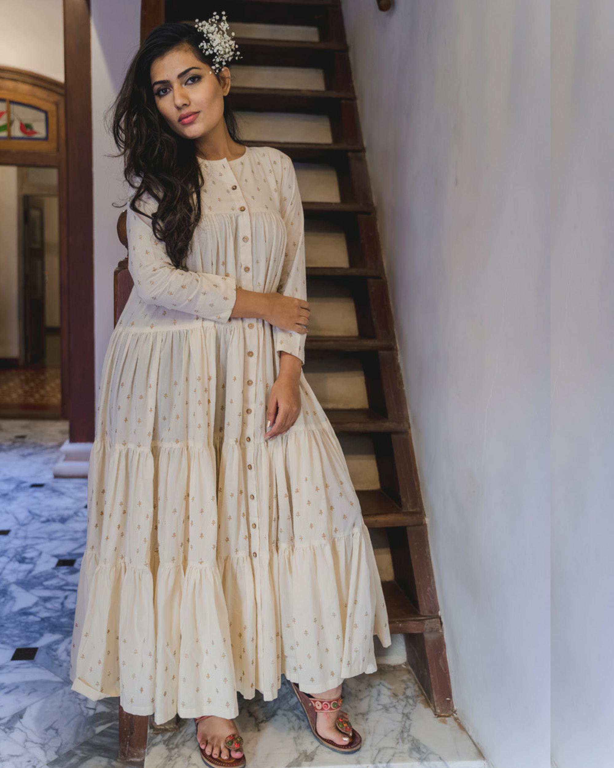 Ivory cotton sharara dress