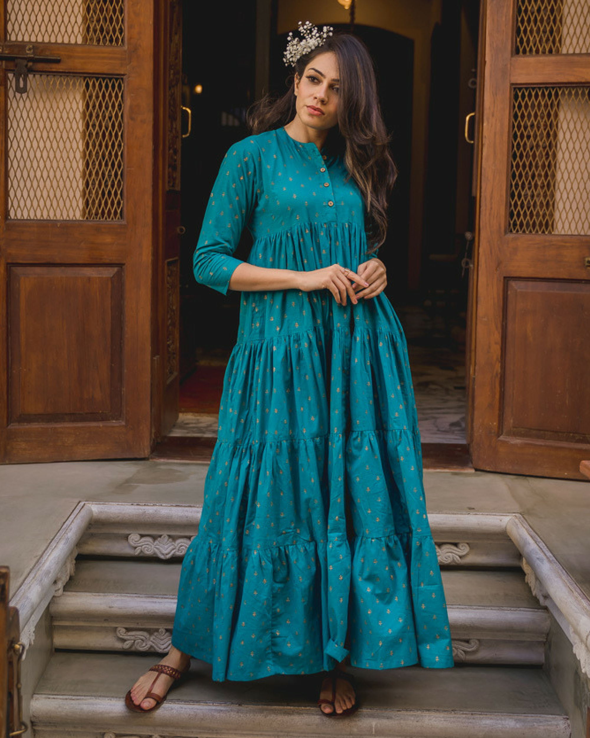 Firozi cotton sharara dress