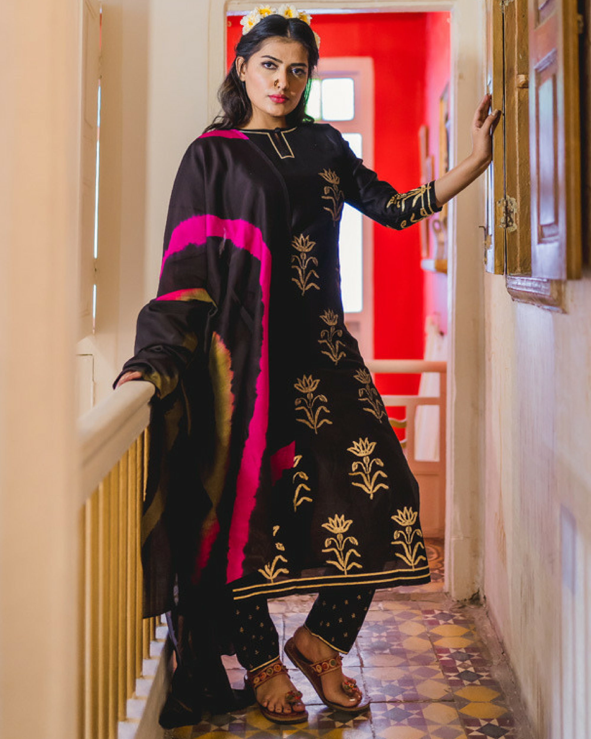 Black daffodil print chanderi kurta set with  dupatta