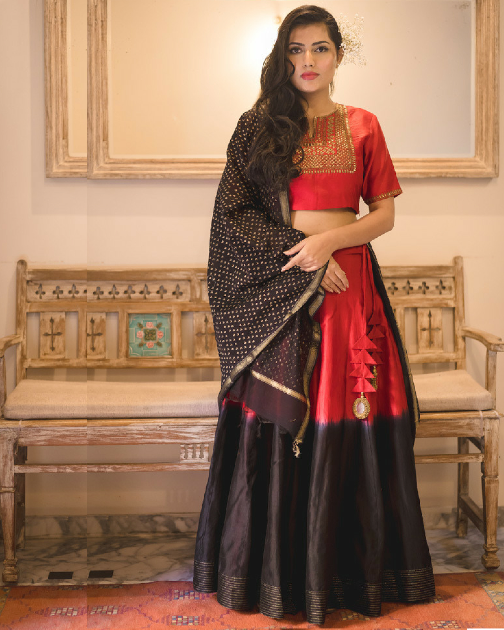 Red-black chanderi lehenga set with dupatta