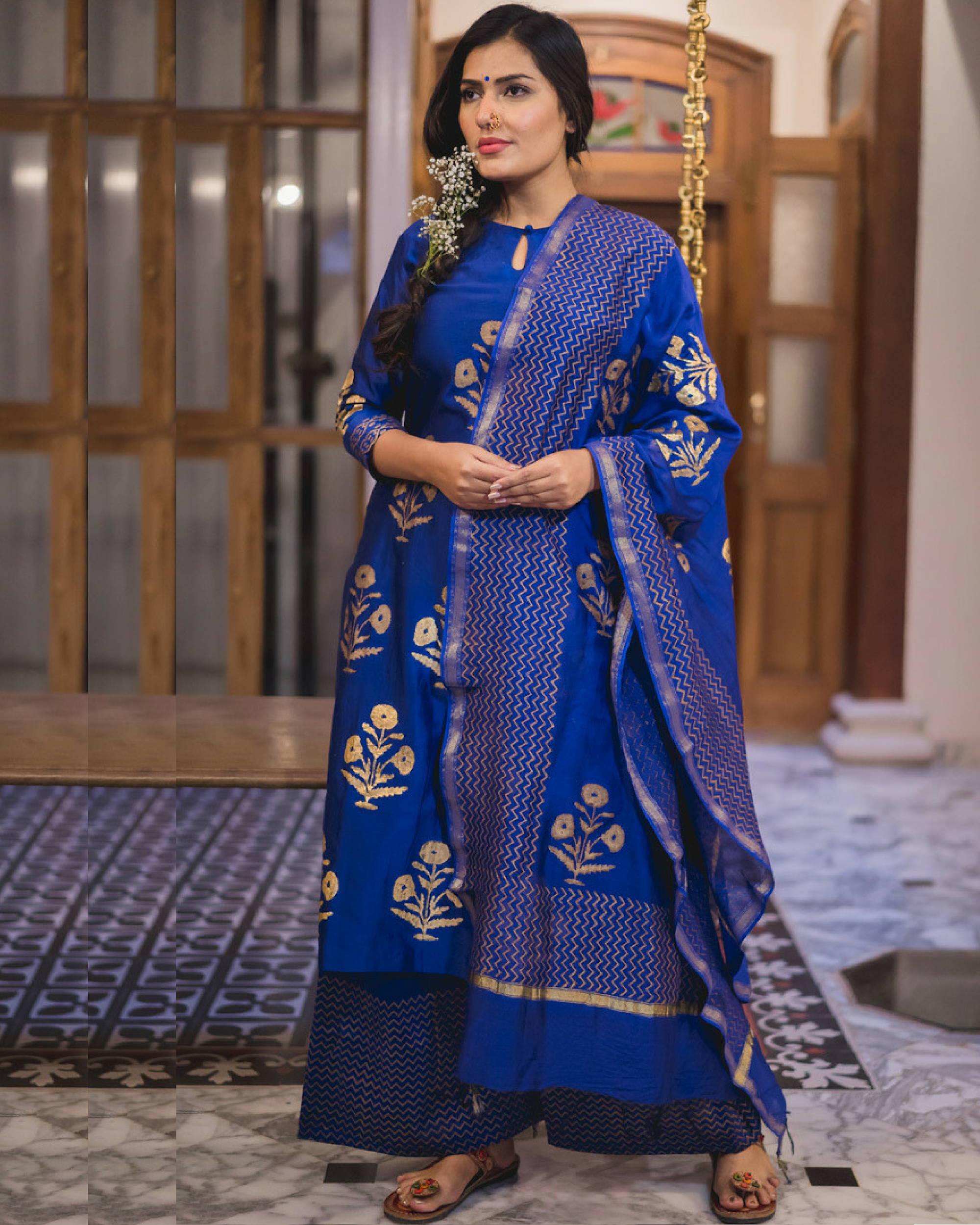 Midnight blue kurta set with dupatta