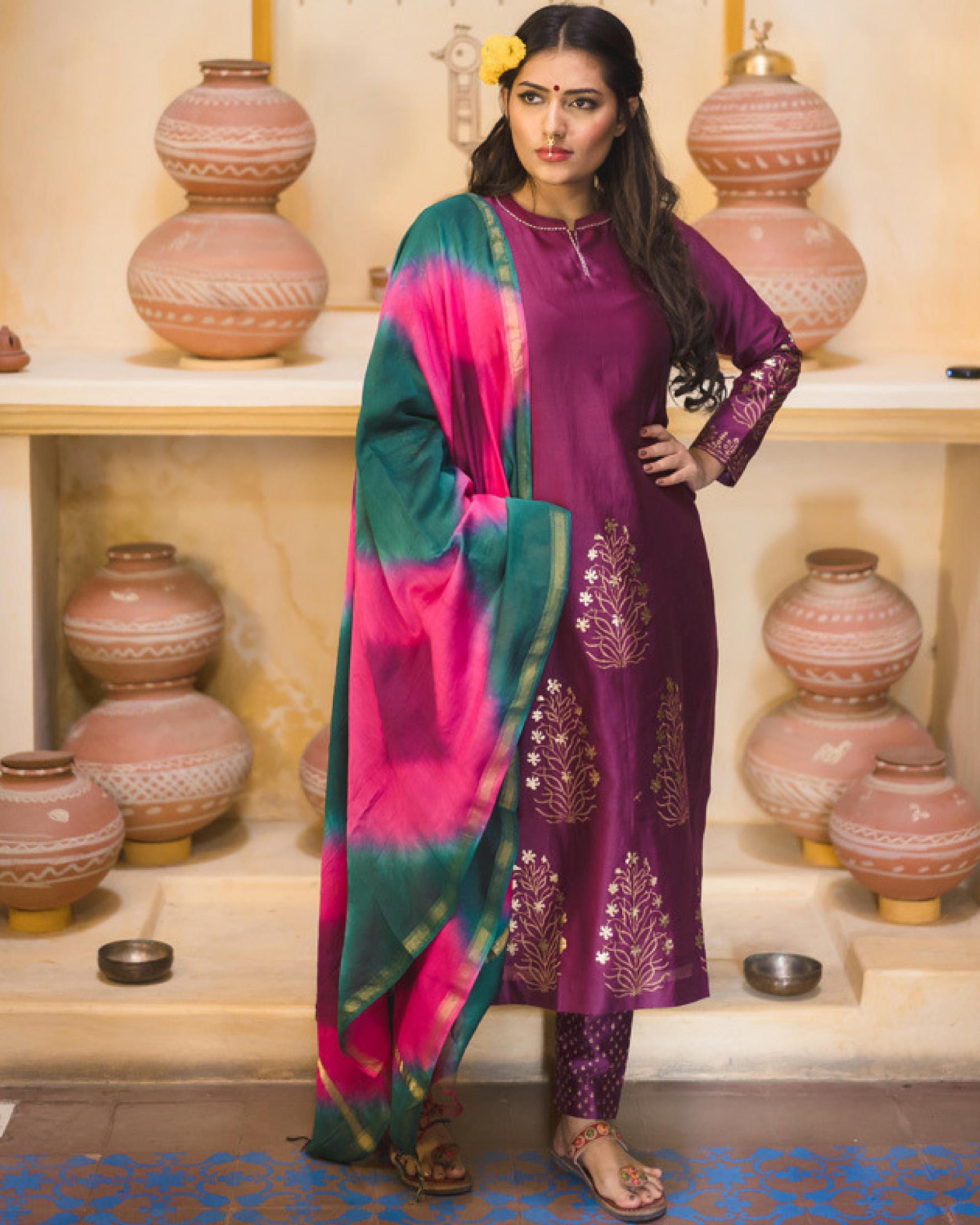 Purple chanderi kurta set with dupatta