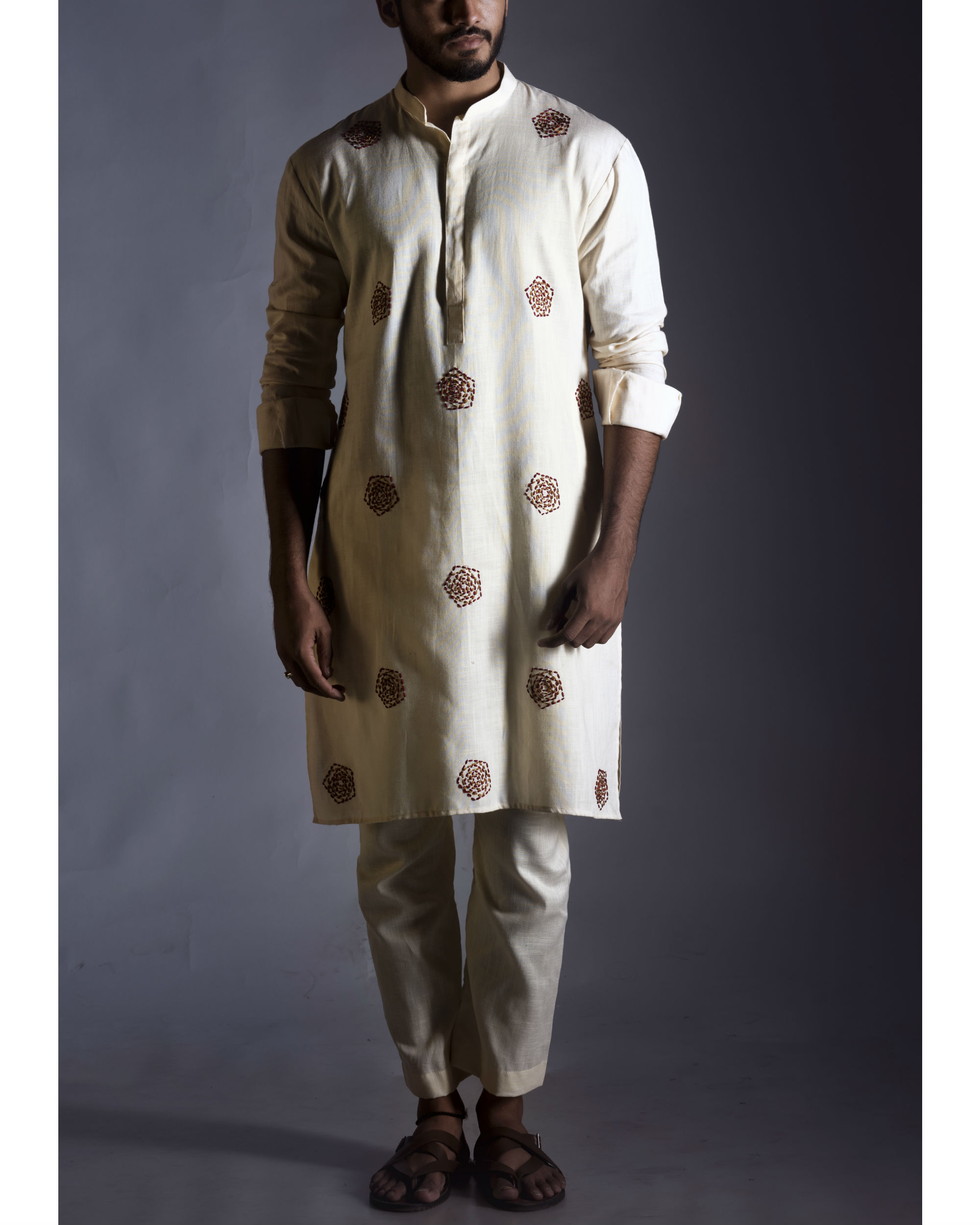 Threadwork cream kurta with pants