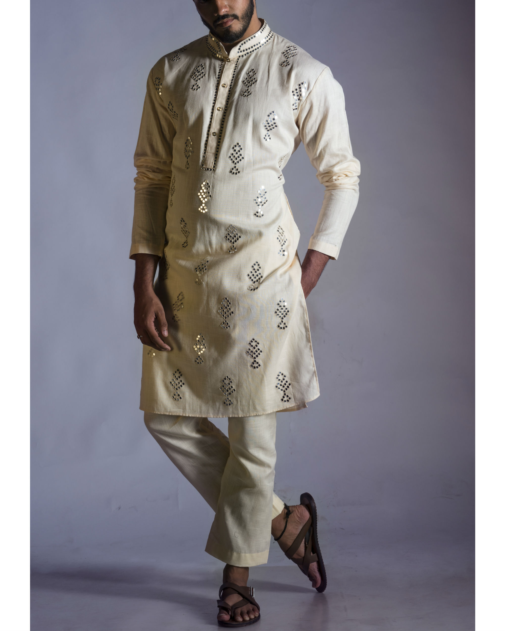Mirror work kurta with pants