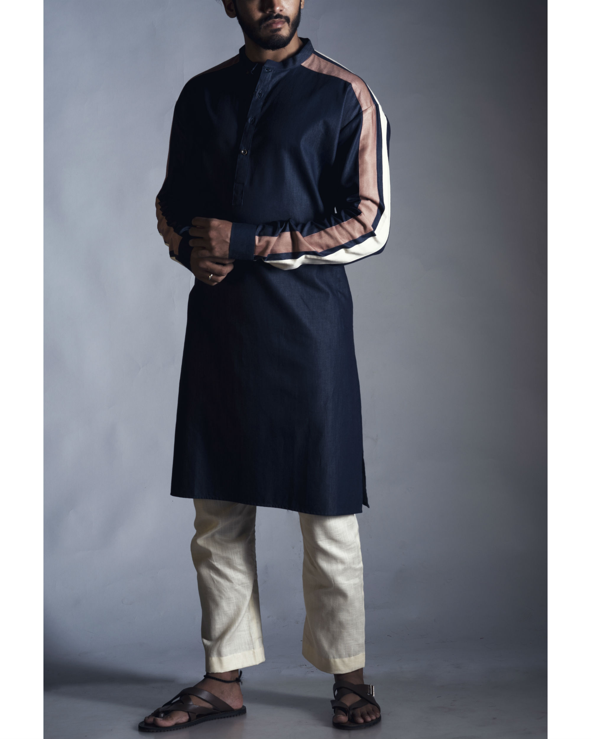 Navy straight kurta with pants