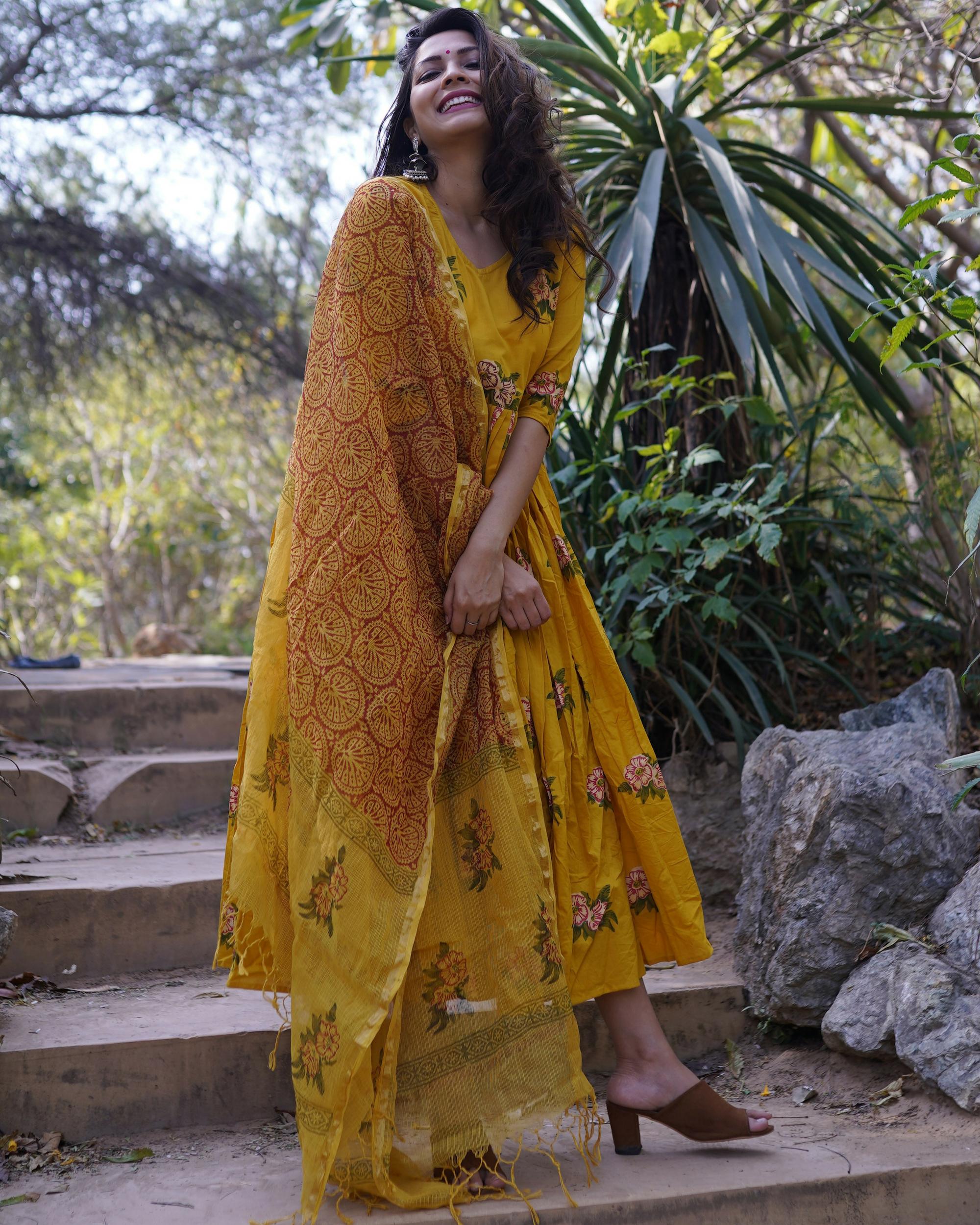 Block printed floral mustard dress with dupatta