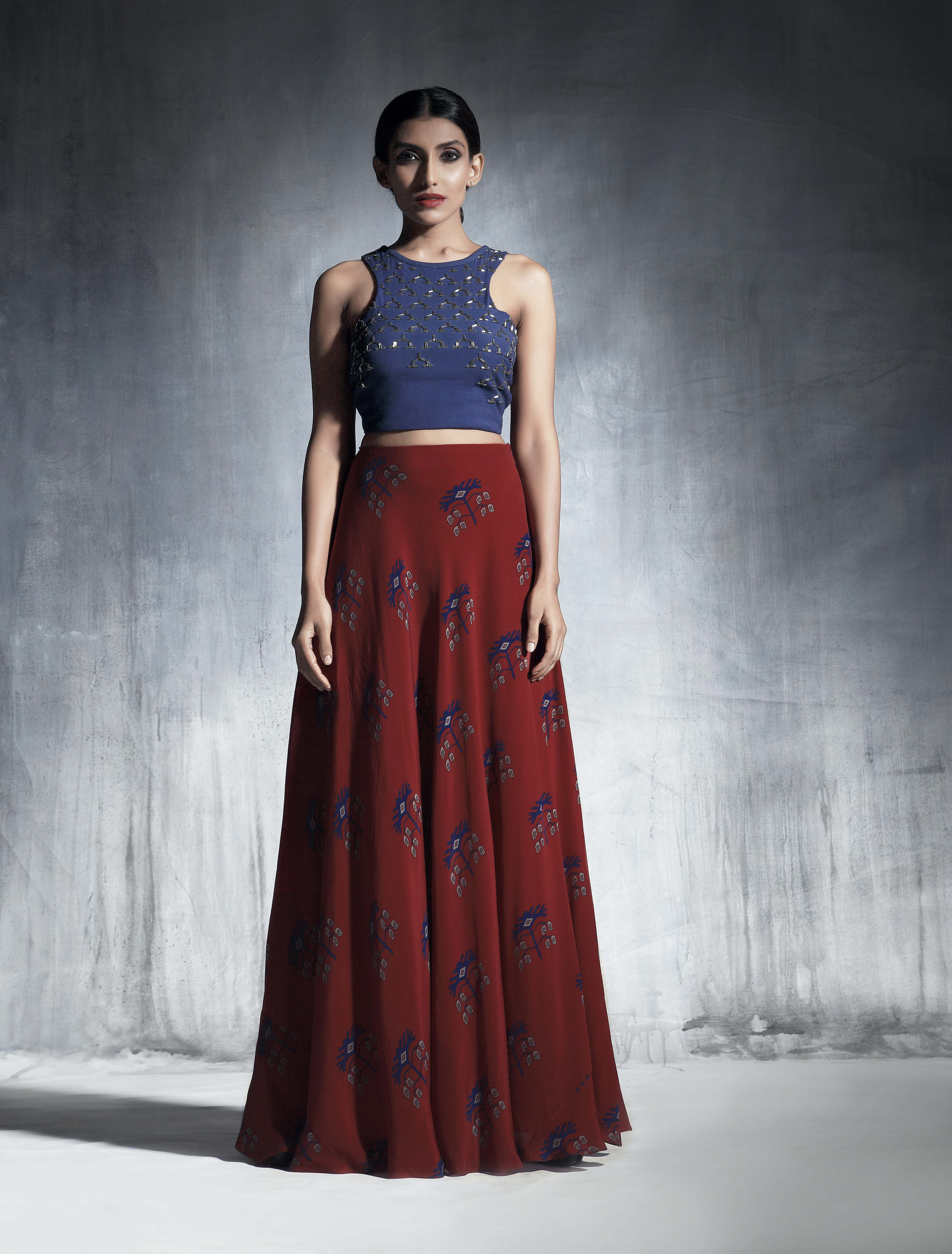 Marsala flared skirt