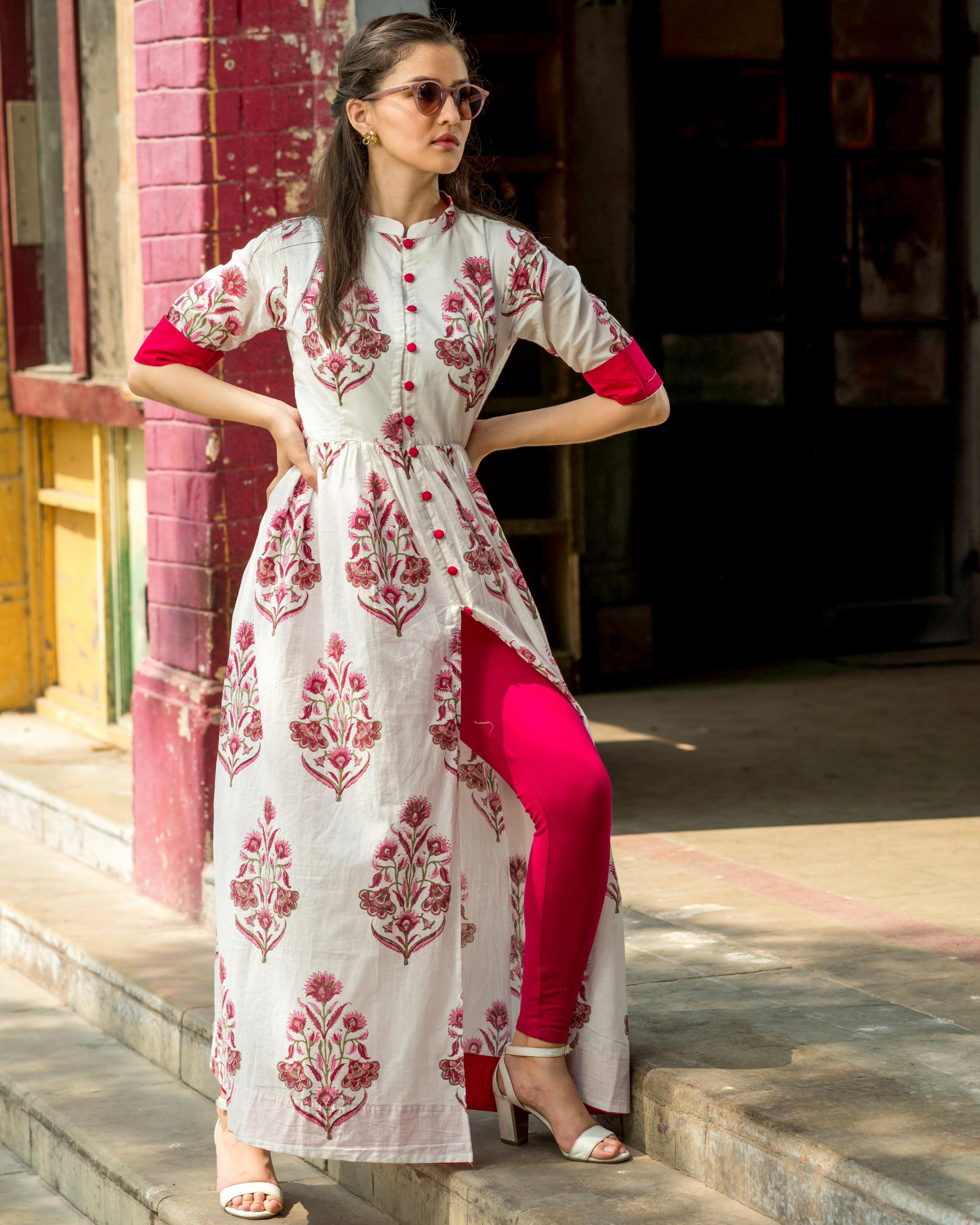 Pink Mughal block printed cape
