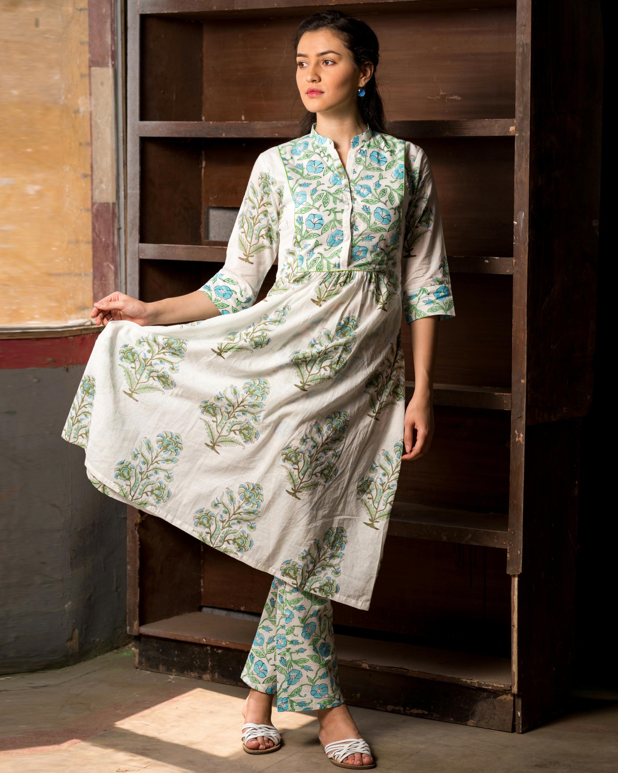 Green and blue block printed kurta set