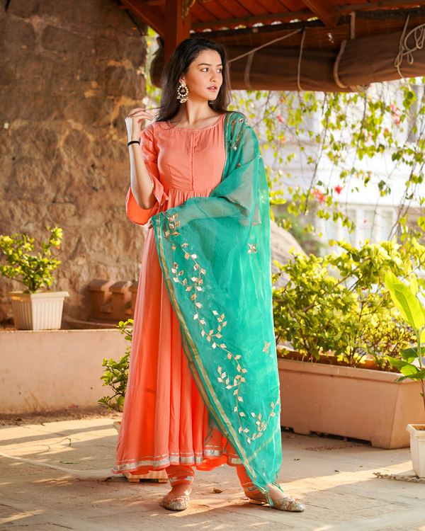 Pink gathered kurta set with sea green gota work dupatta