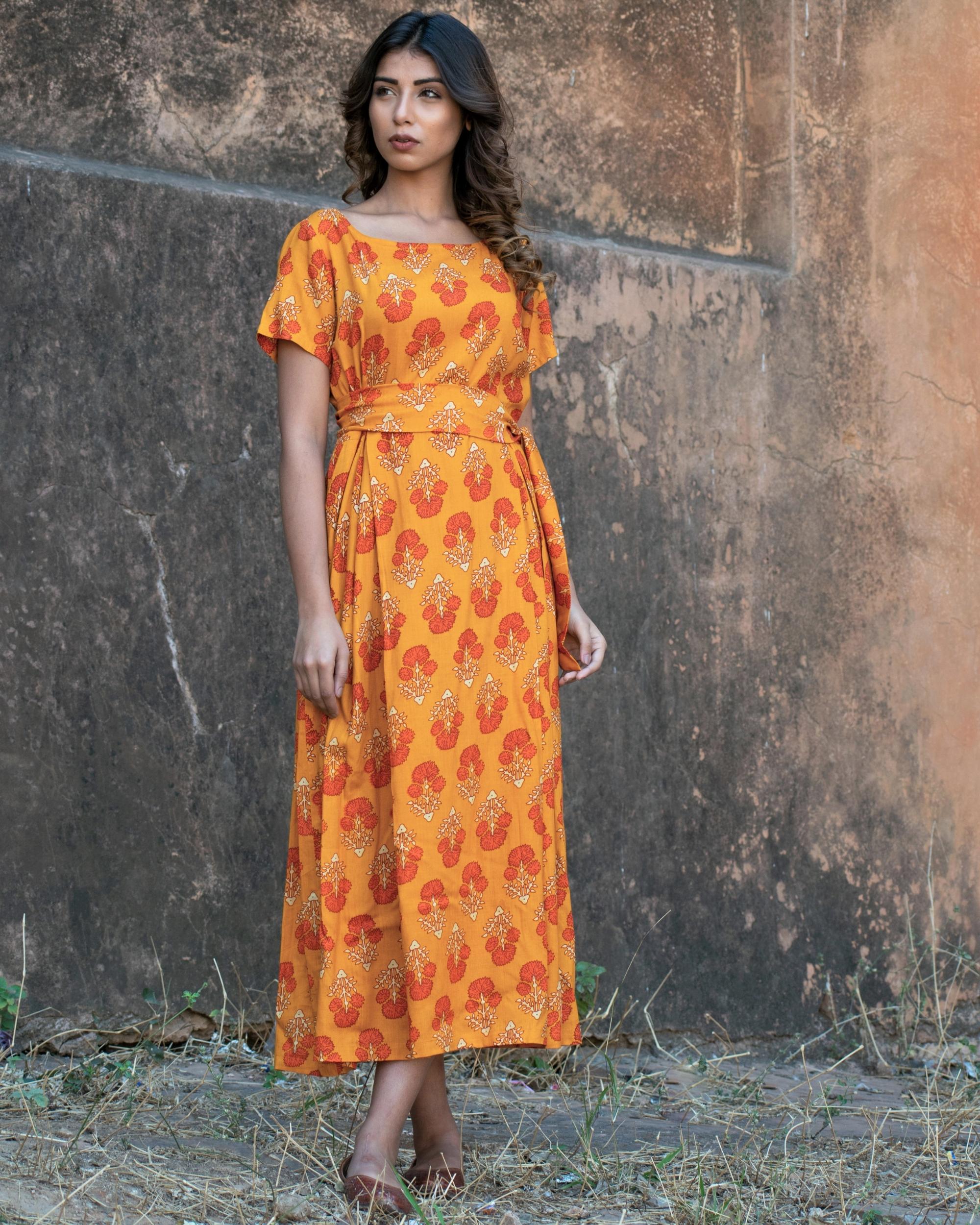 Orange block printed boxed dress