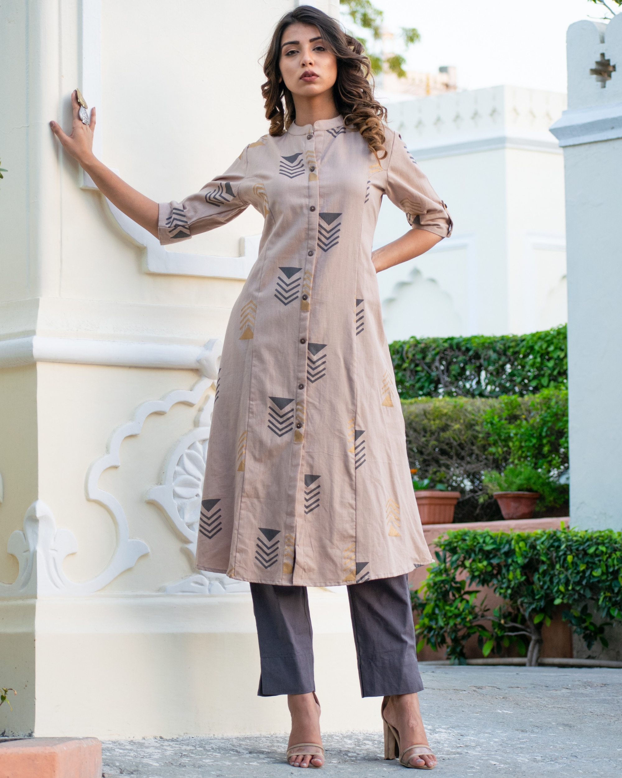 Grey geometric kurta set