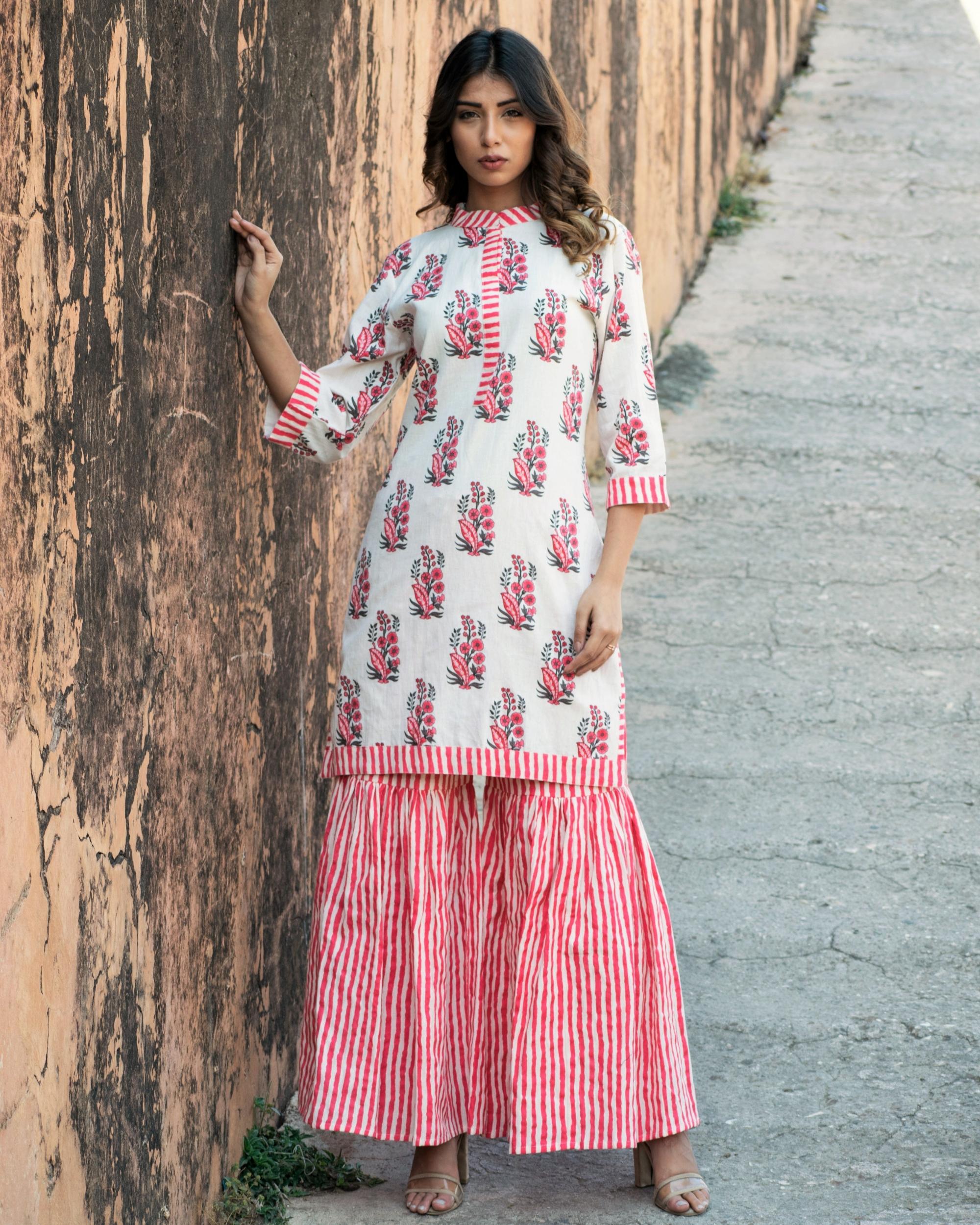 Blush pink printed kurta set