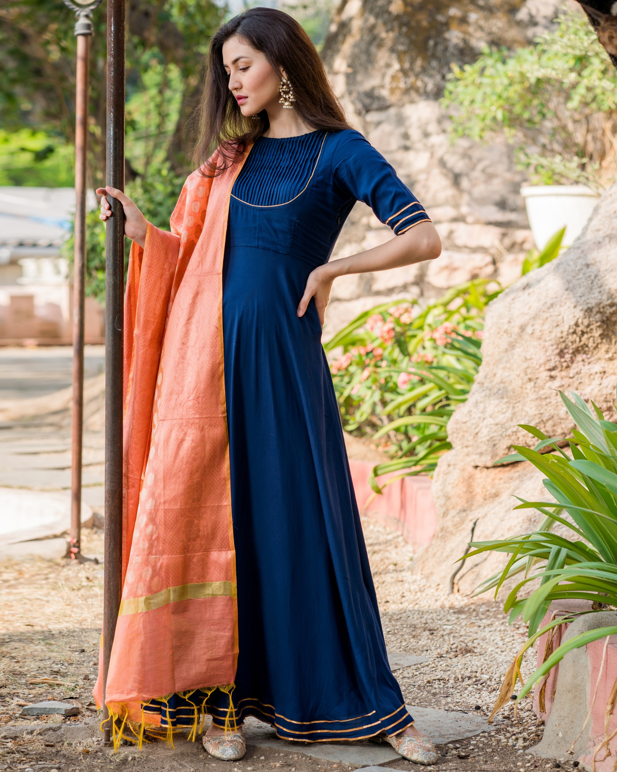 Royal blue flared gota work dress with dupatta