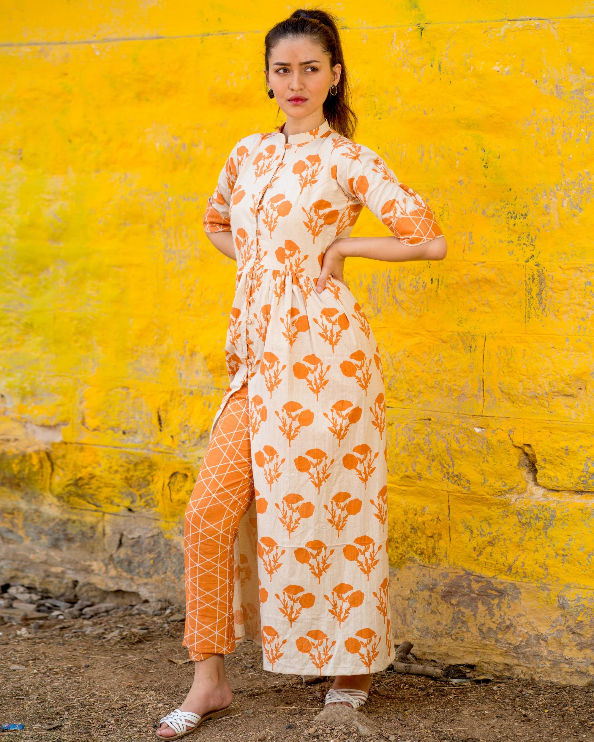 Orange floral cape with pants