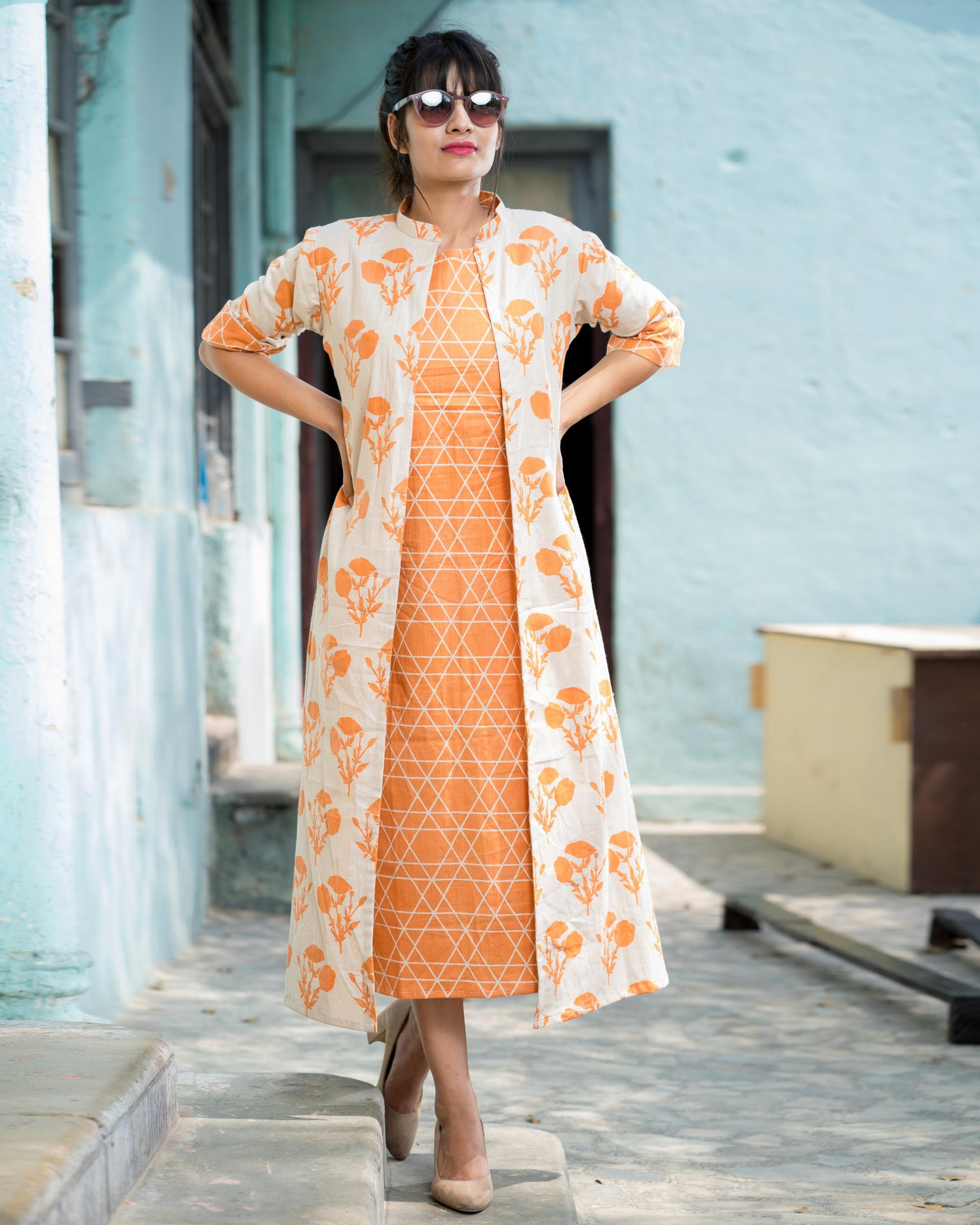 Orange floral jacket dress