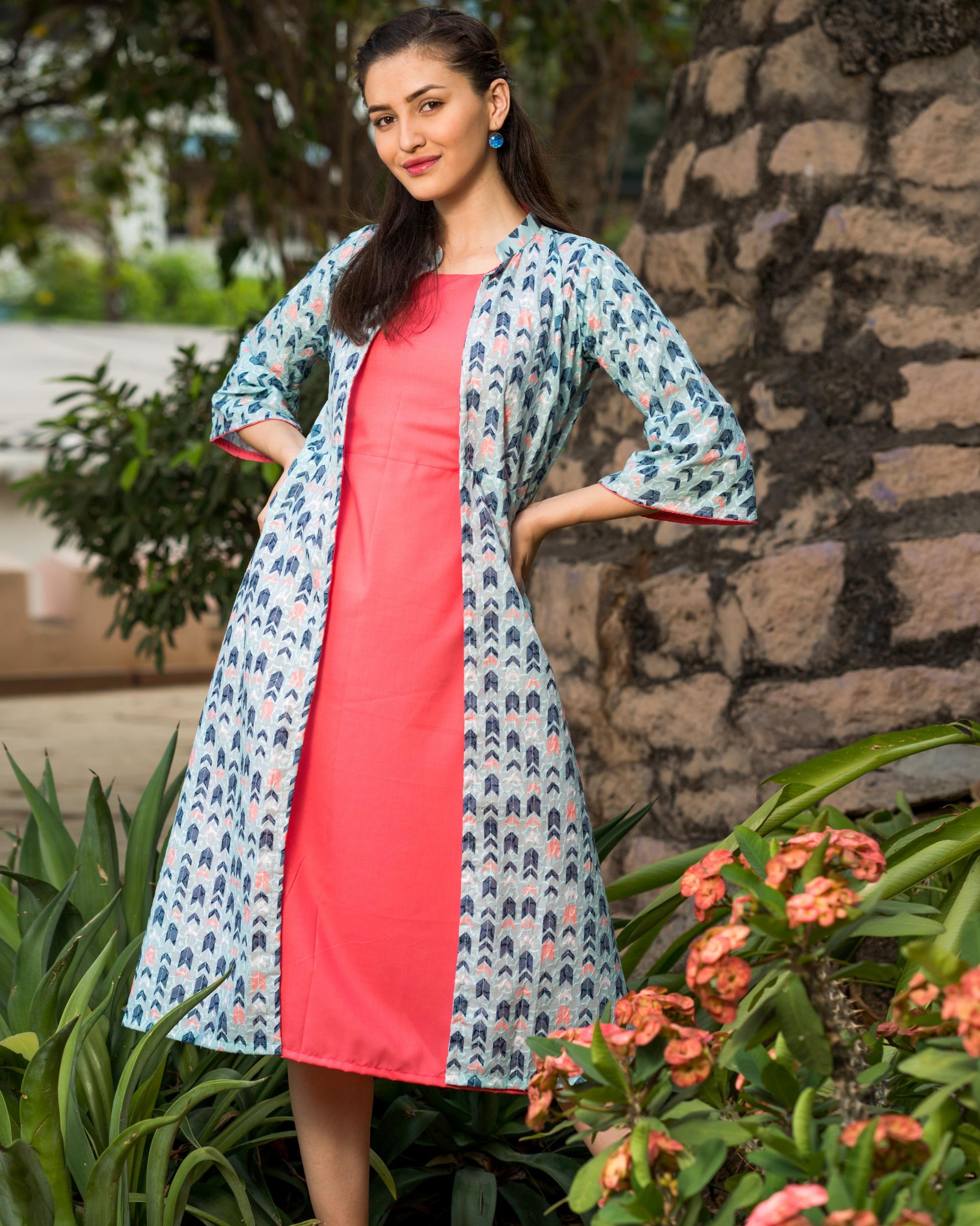 Pink inner dress with schifi work jacket