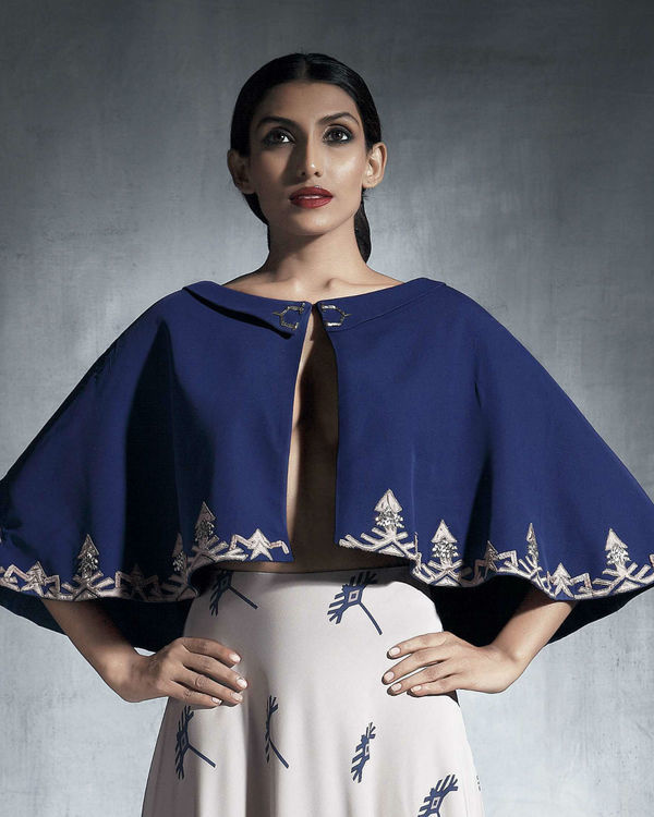 Blue embroidered cape