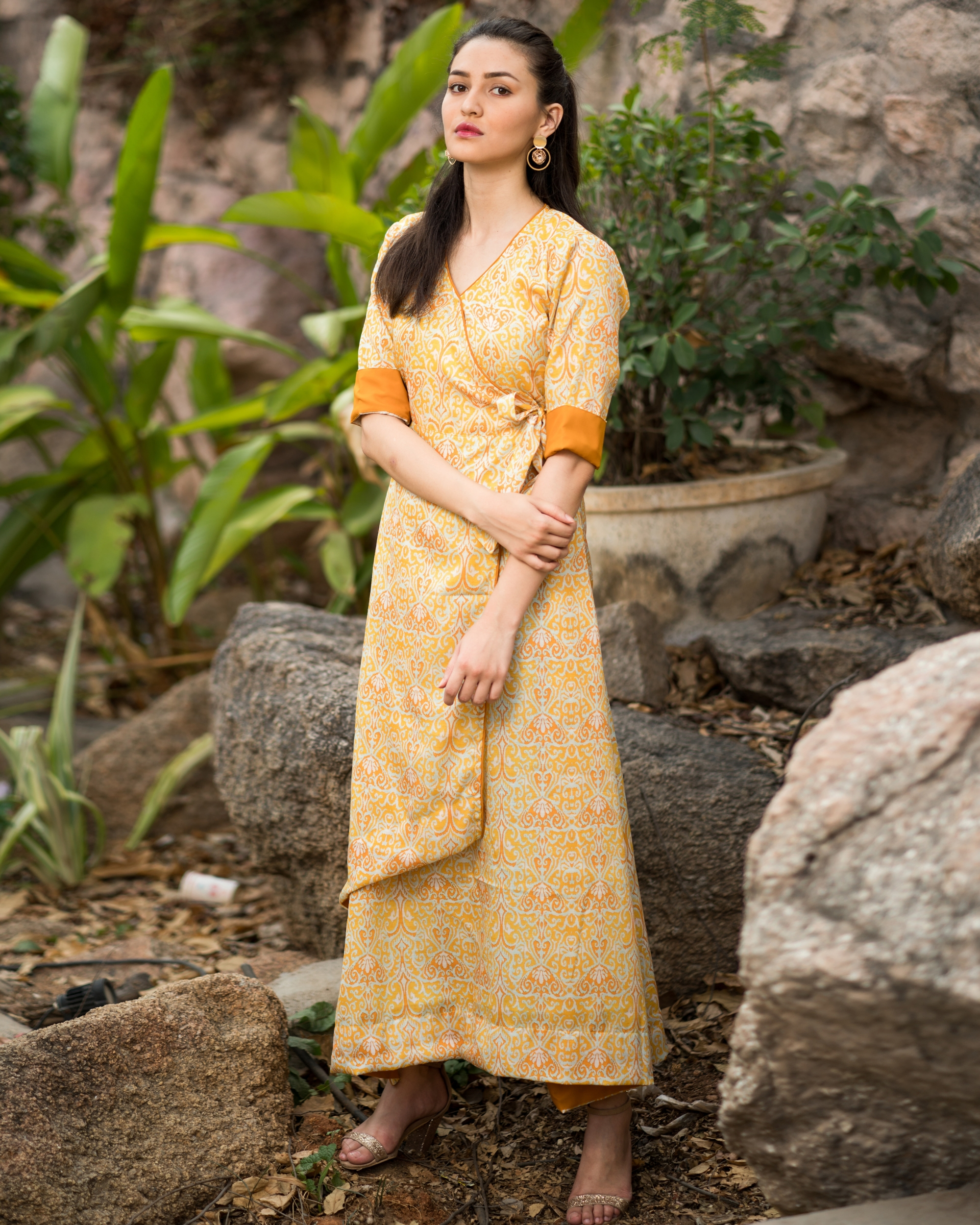 Yellow printed wrap dress